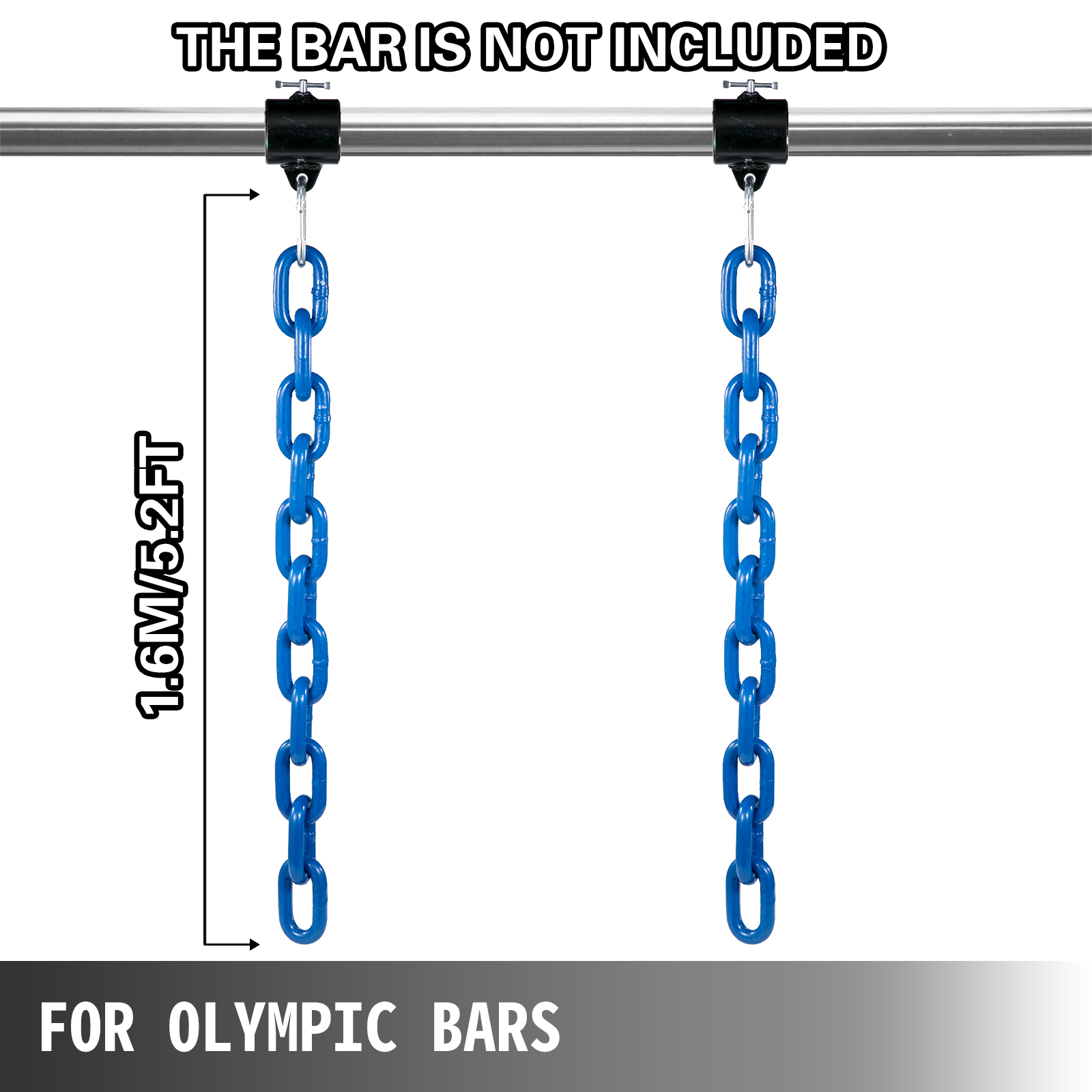 Weight Lifting Chains Olympic Bar Barbell Chains 26LB 35LB 44LB Chains w//Collars