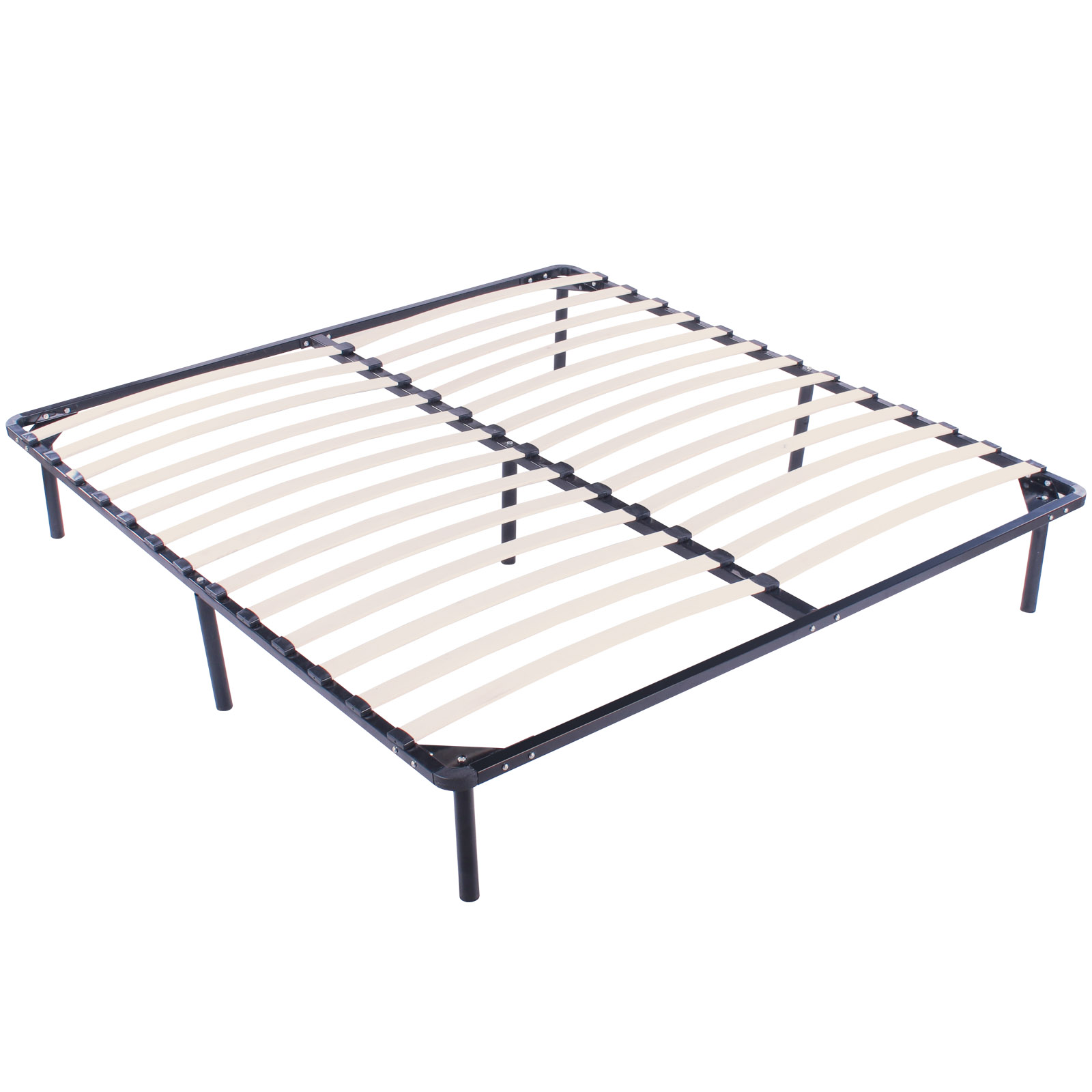 King Size Wood Slats Metal Bed Frame Platform Bedroom