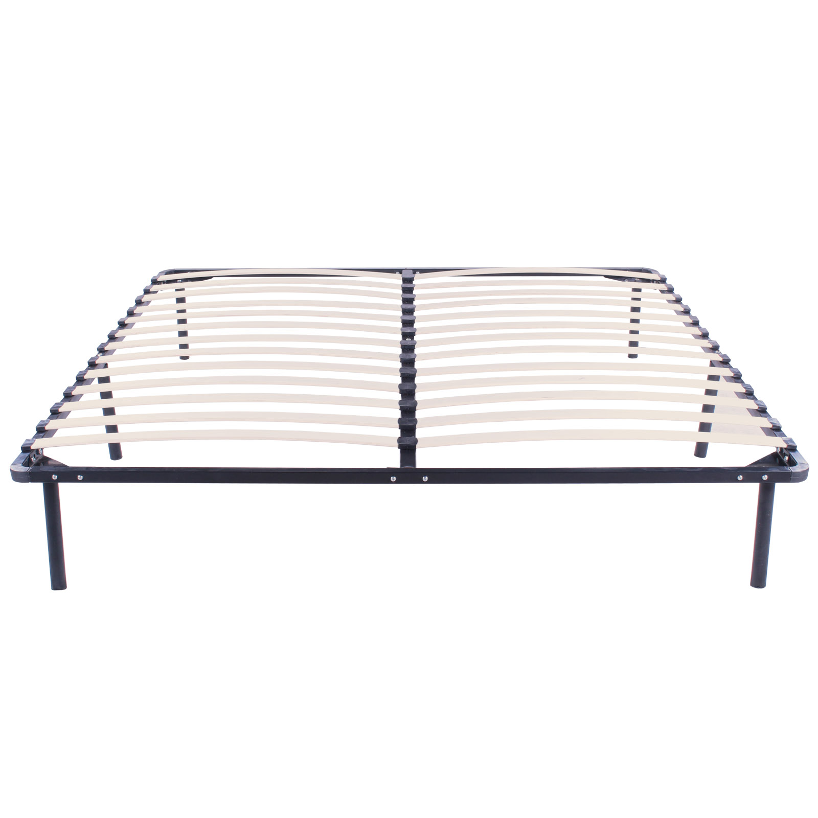 King size wood slats metal bed frame platform bedroom for Wood bed frames for king size beds