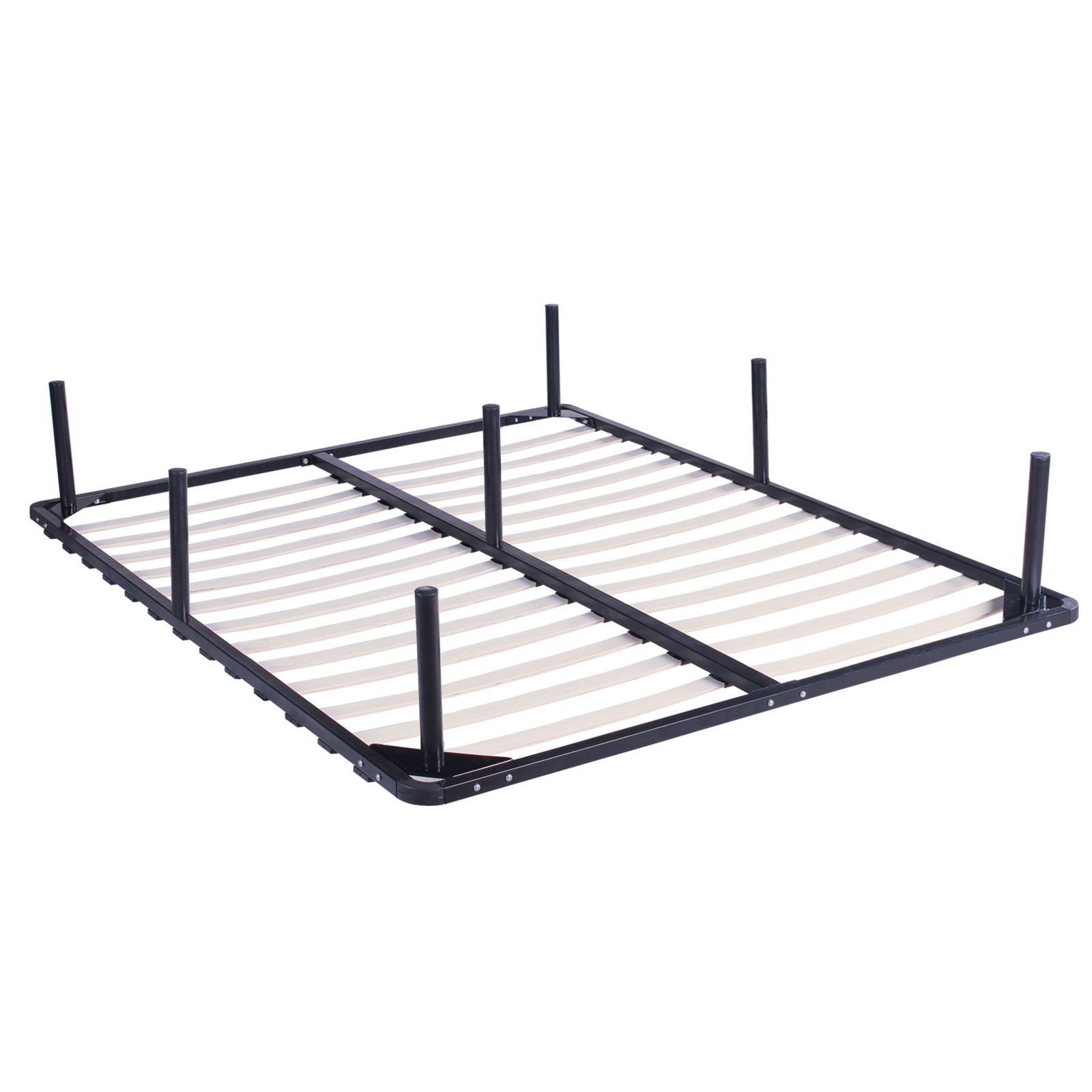 KING SIZE WOOD SLATS METAL BED FRAME PLATFORM FOUNDATION