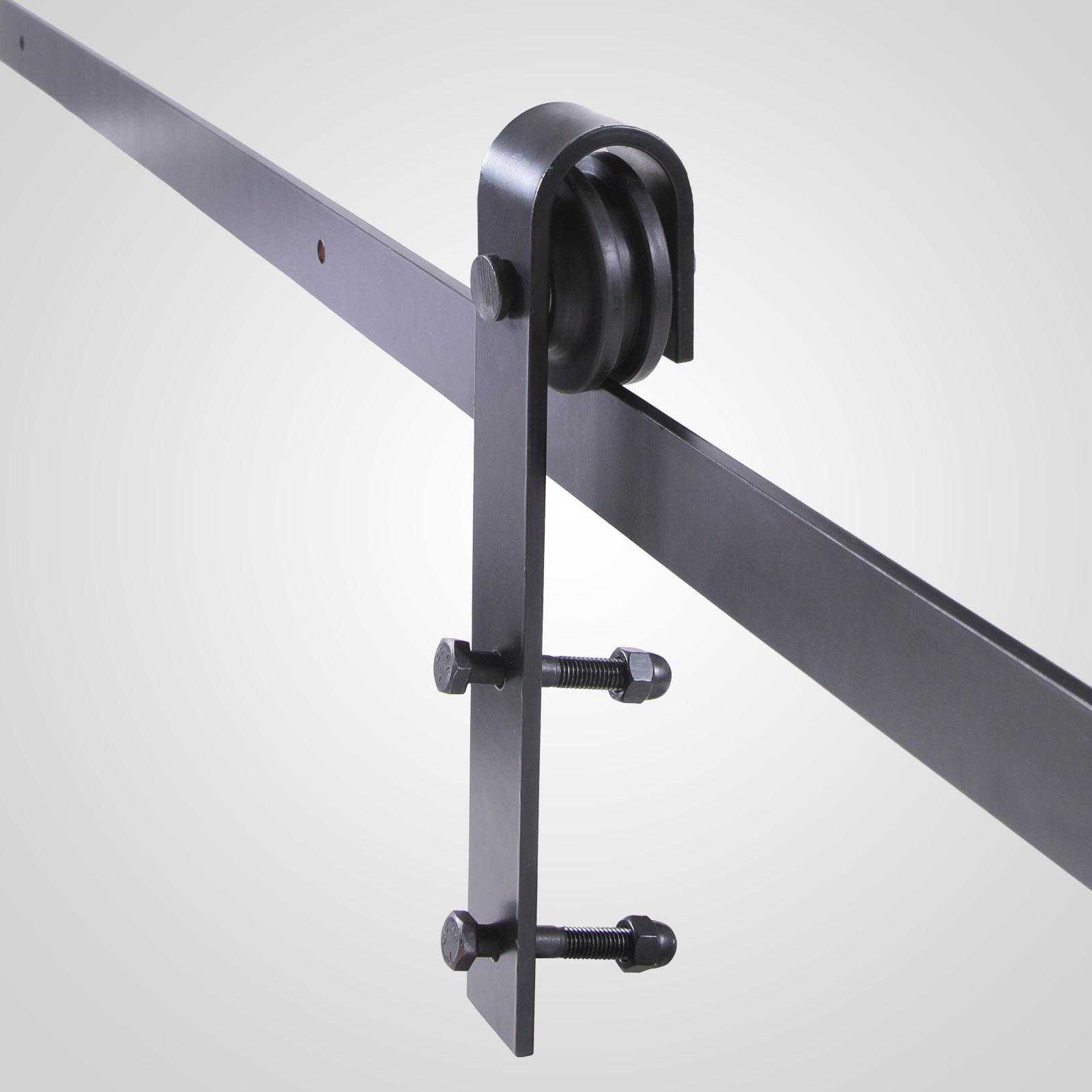 Wall mount sliding door hardware set - Black Carbon Steel Sliding Barn Door Hardware Track