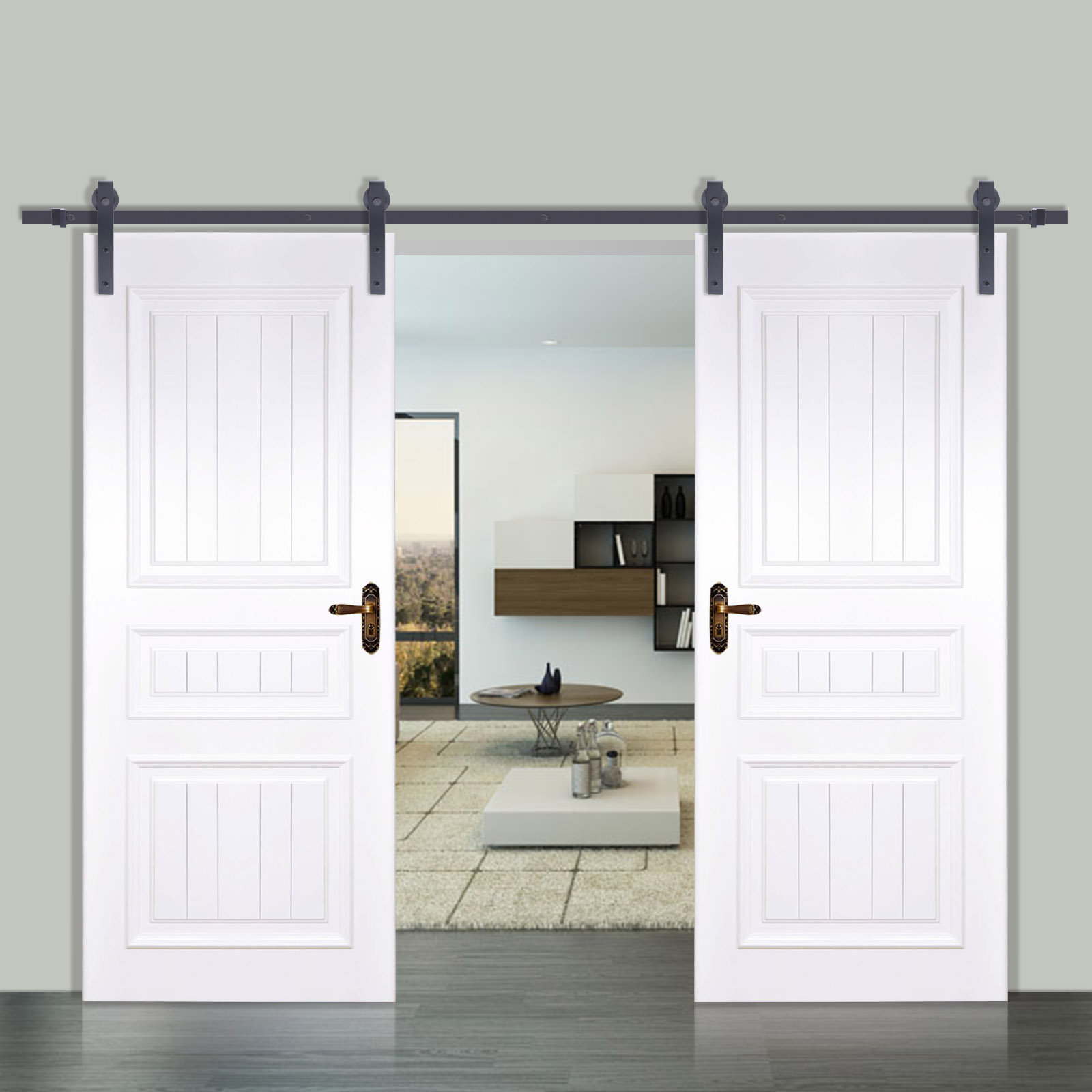 12ft top hung double sliding barn door hardware track wood door kit promotion ebay for Double hung interior closet doors