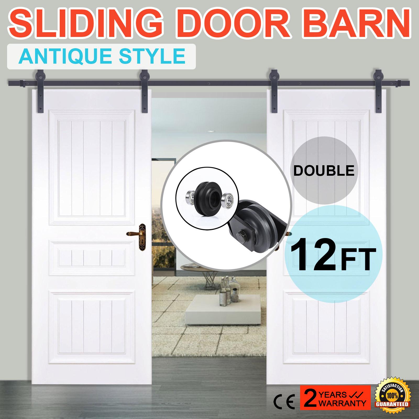 12ft double modern style sliding barn wood door closet for 12 foot sliding barn door hardware