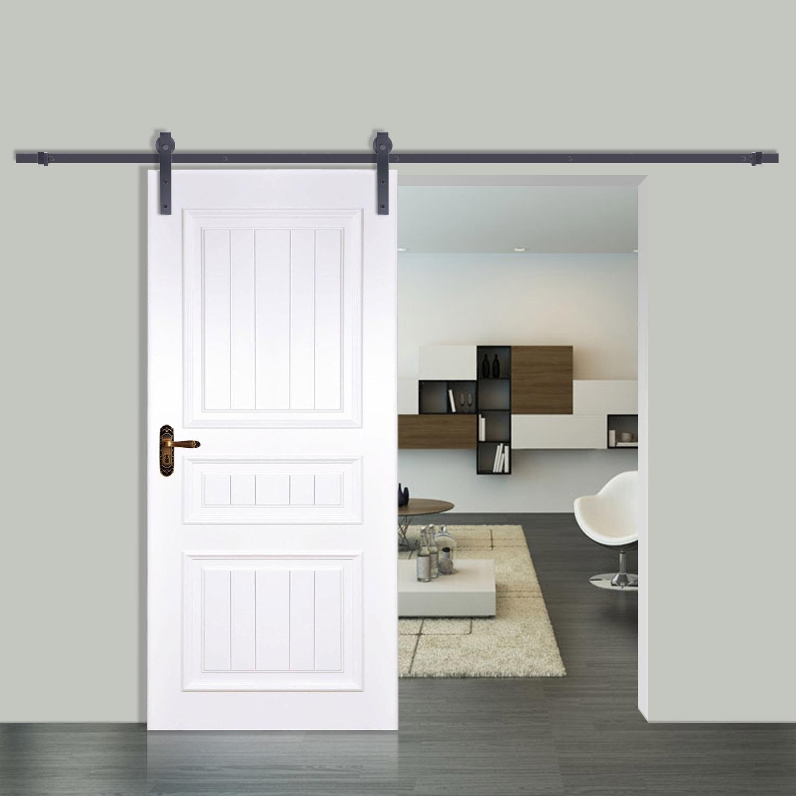 6 6 6 10 12ft rustic black double sliding barn door hardware wheel track kit new ebay. Black Bedroom Furniture Sets. Home Design Ideas