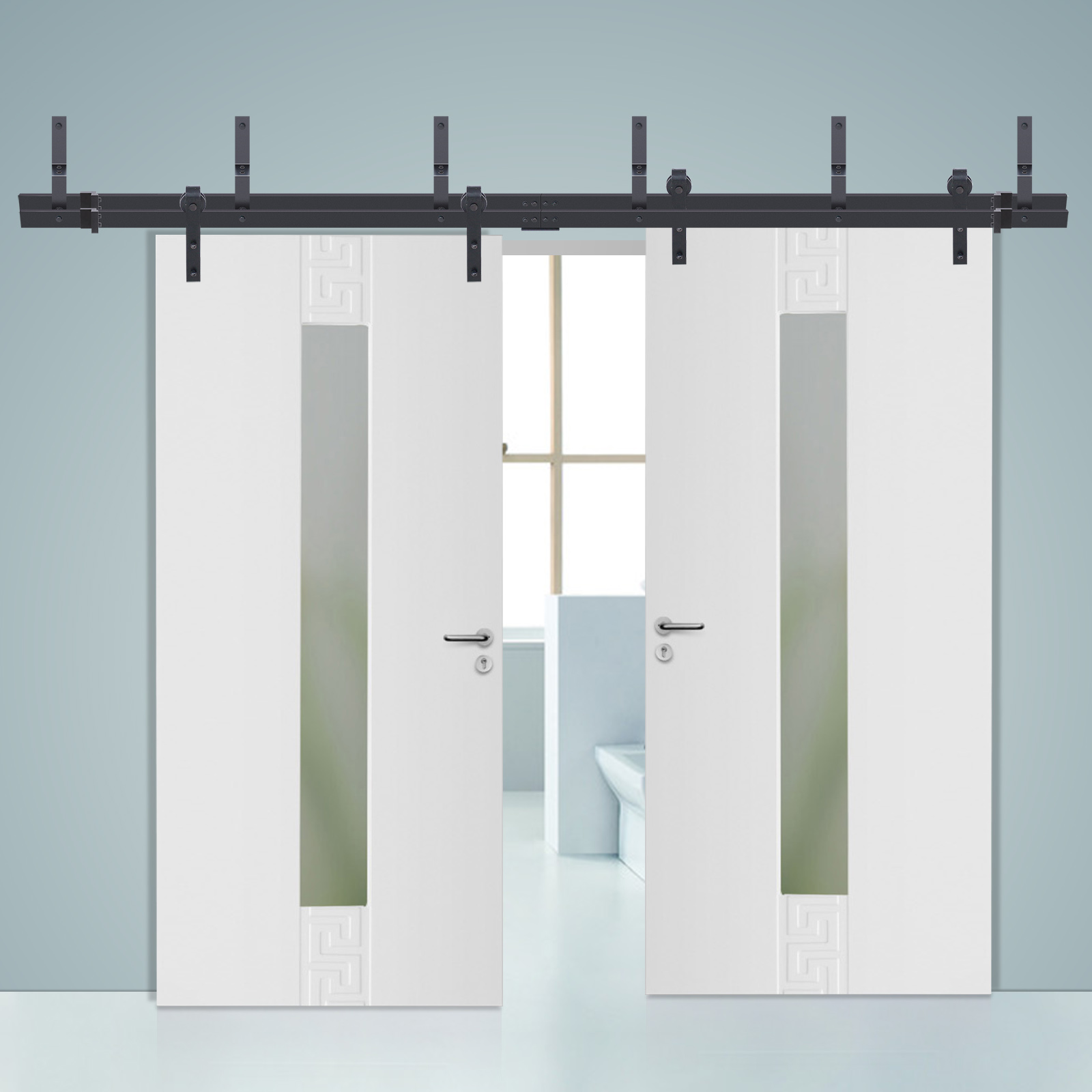 3m sliding barn door hardware track set home office for Bedroom barn door hardware