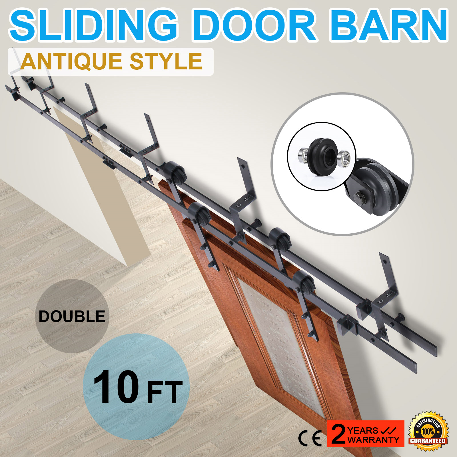 Wall mount sliding door hardware set - Black Carbon Steel Sliding Barn Door Hardware Track