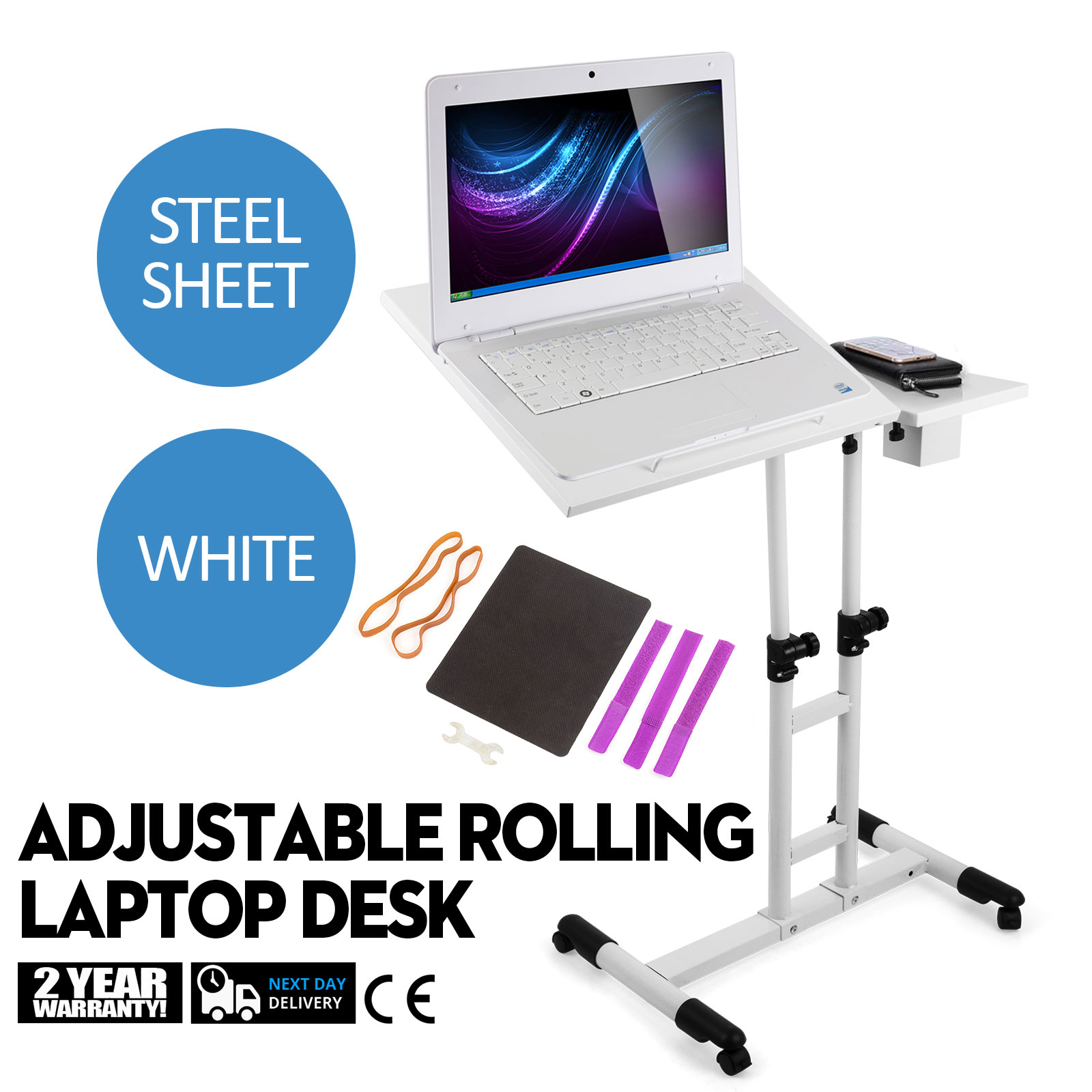 Adjustable Height Rolling Laptop Desk Table Anti-slide Shelves Tattooing Cart