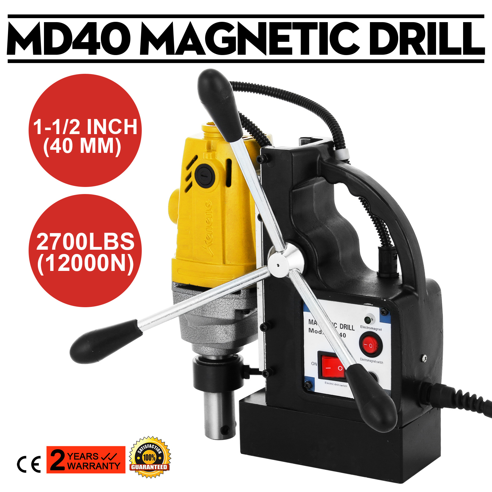 MD40 MAGNETIC DRILL PRESS COUNTER-SINKING 2700 LBS MAGNET FORCE RACK GREAT
