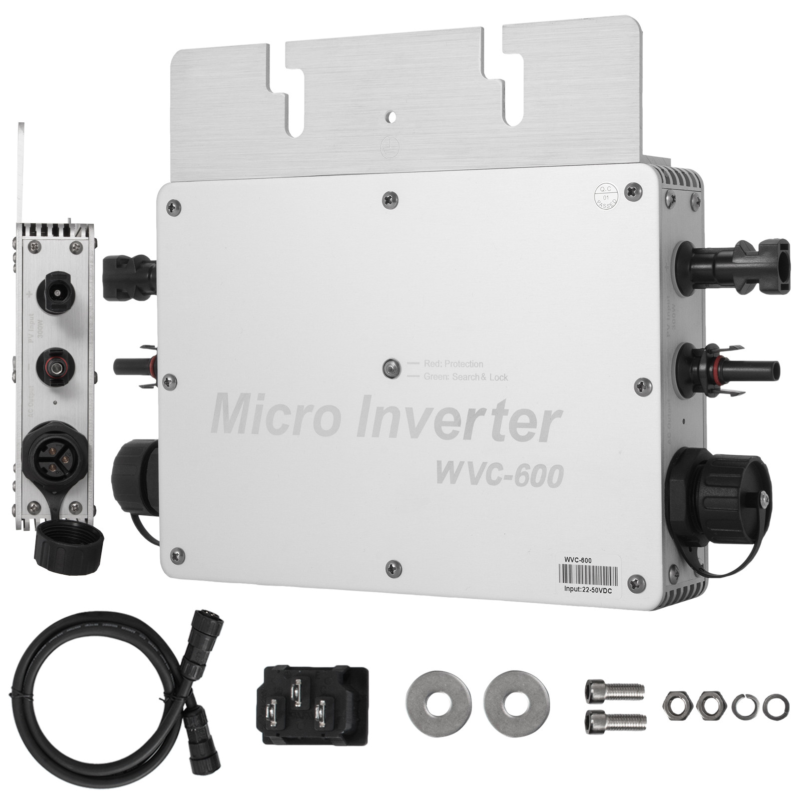 WVC-300W//600W//1200W 110V//220V MPPT Solar Grid Tie Micro Inverter Waterproof IP65