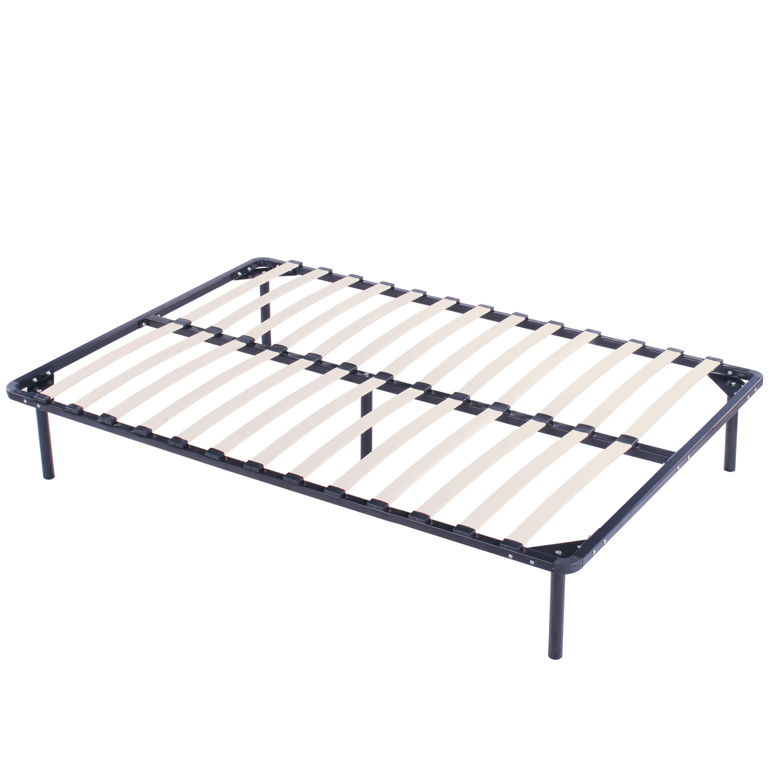 Wood slats metal bed frame platform bedroom mattress for High bed frame queen