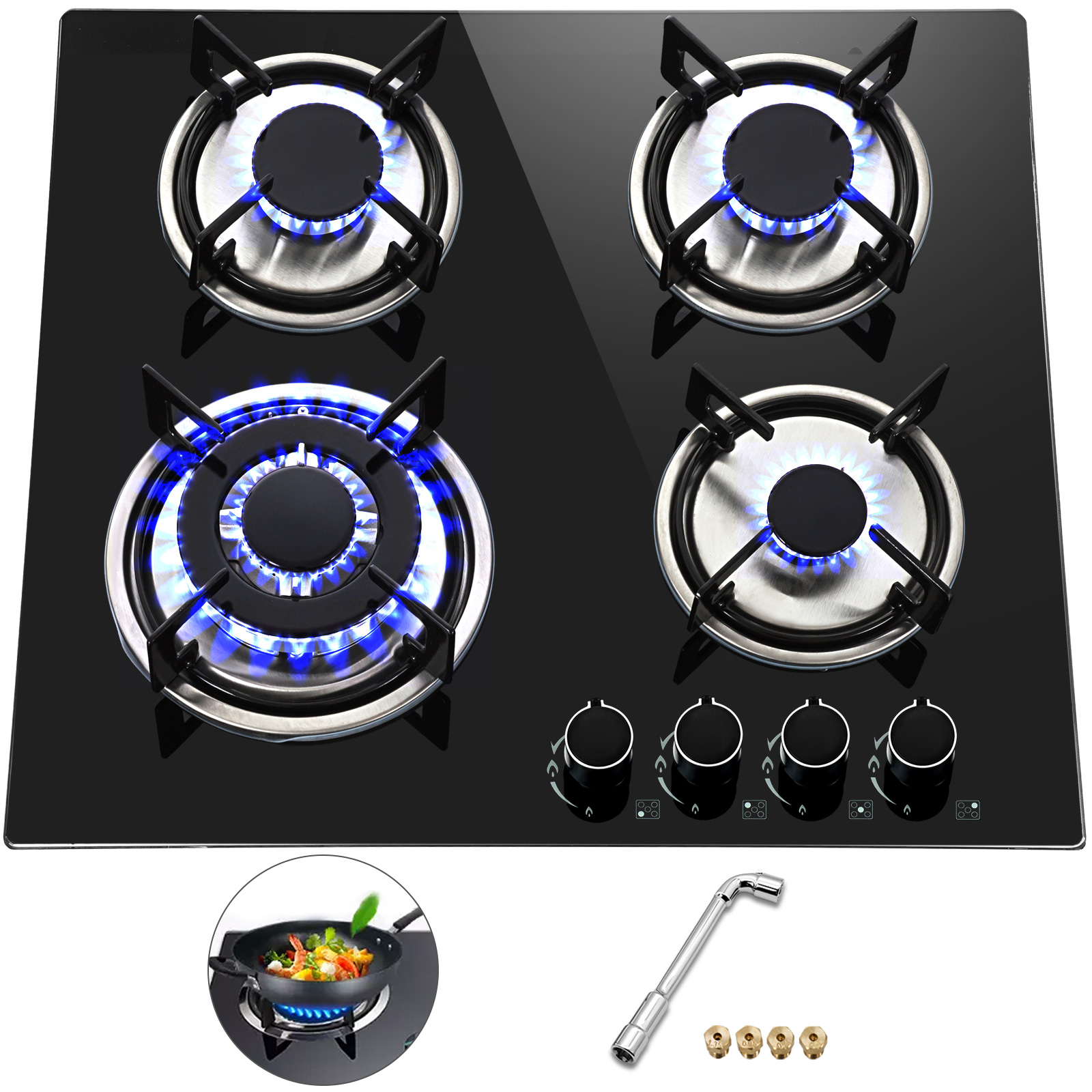 Tempered-Glass-4-Burners-Stove-Gas-Cooktop-iron-grates-LPG-amp-LNG-Gas-St-Steel
