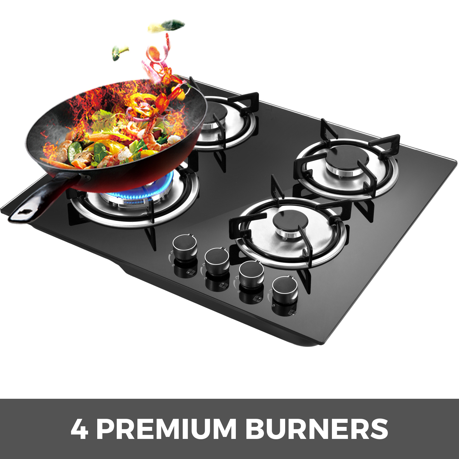 Tempered-Glass-4-Burners-Stove-Gas-Cooktop-iron-grates-LPG-amp-LNG-Gas-St-Steel thumbnail 2