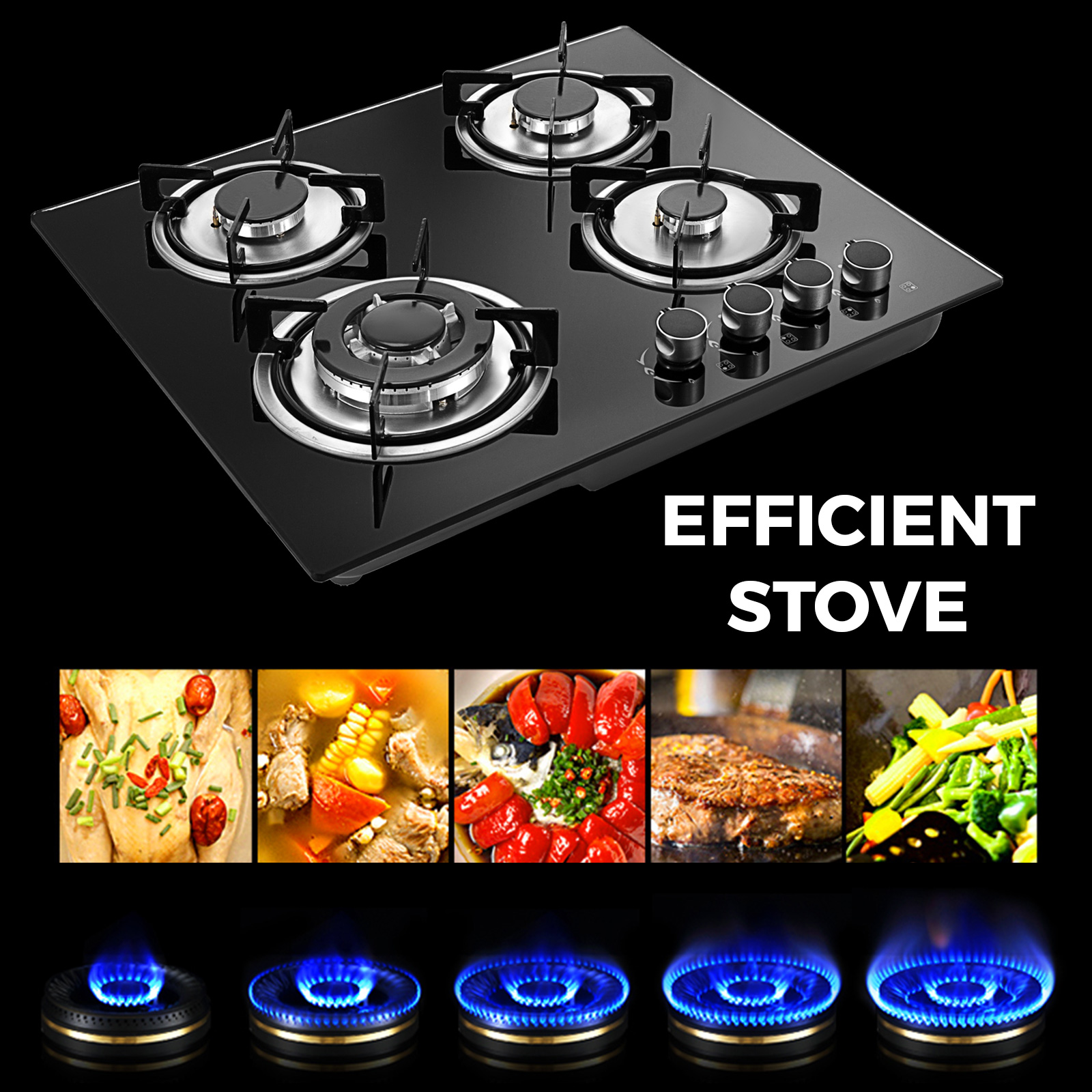 Tempered-Glass-4-Burners-Stove-Gas-Cooktop-iron-grates-LPG-amp-LNG-Gas-St-Steel thumbnail 7