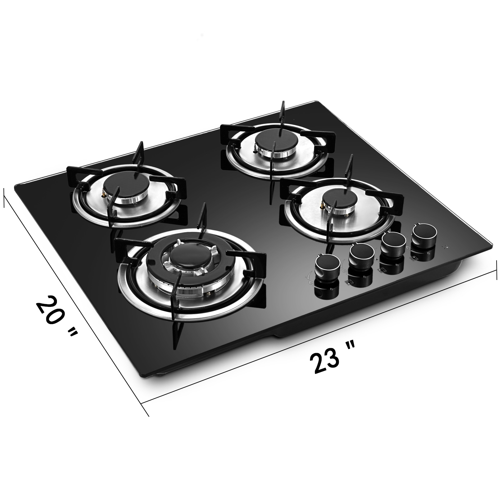 Tempered-Glass-4-Burners-Stove-Gas-Cooktop-iron-grates-LPG-amp-LNG-Gas-St-Steel thumbnail 8