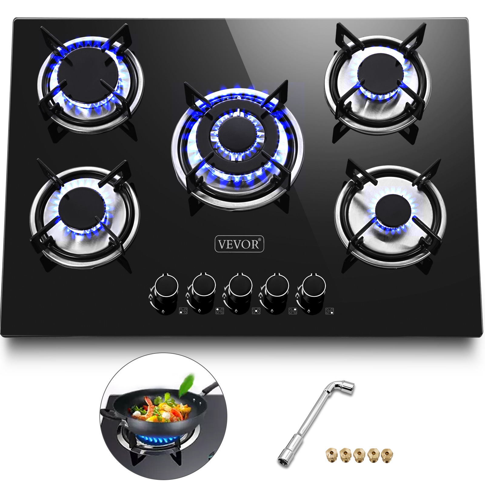 Tempered Glass 5 Burners Stove Gas Cooktop Gas Hob Electri