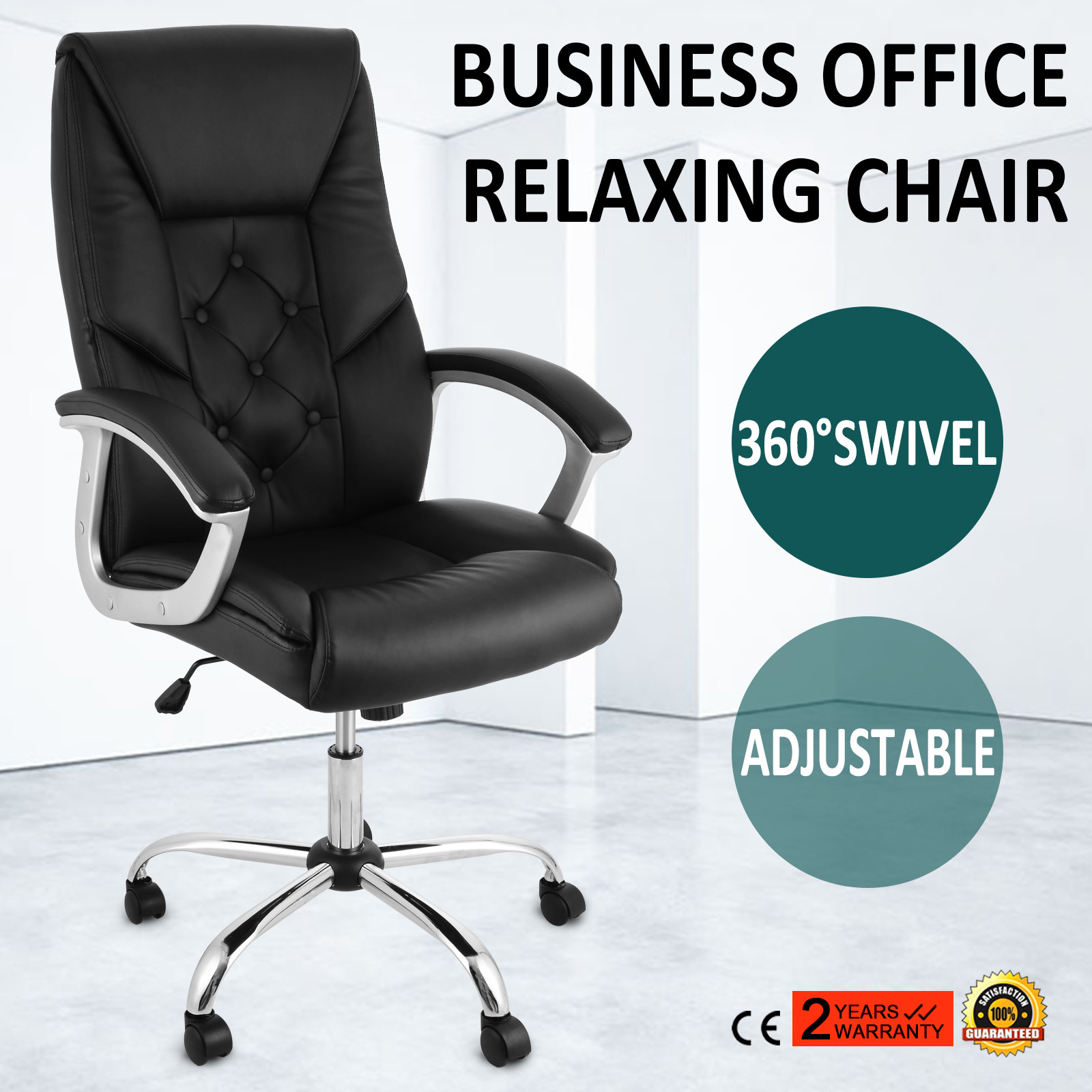 Details zu Bürostuhl Chefsessel Schreibtischstuhl Drehstuhl Design Kunstleder Stuhl Neu