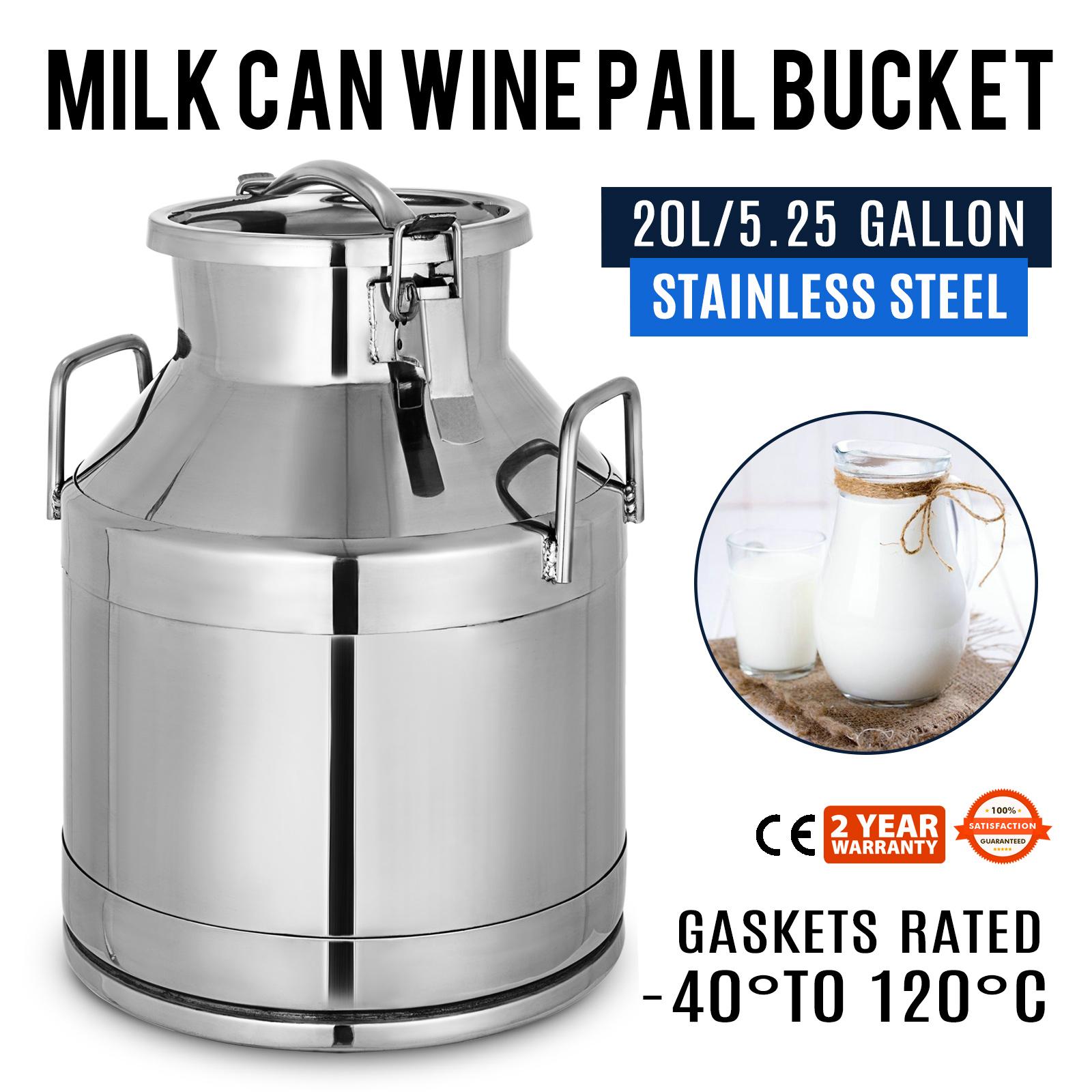 20 Liter Stainless Steel Can Milk Canister /Milk POT Bucket Gallon Milker-w/Lid