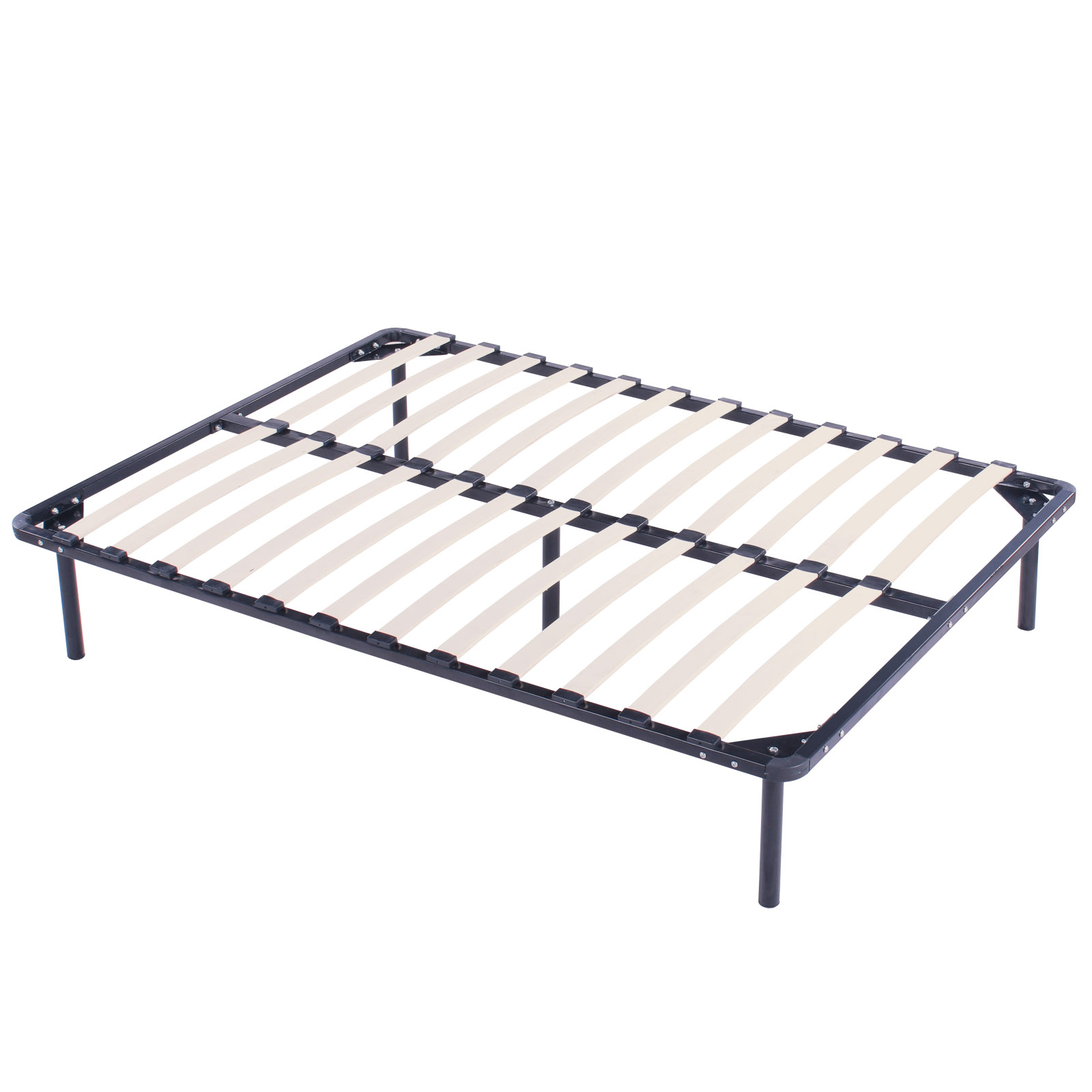 Wood Slats Metal Bed Frame Twin Size Sturdy Foundation