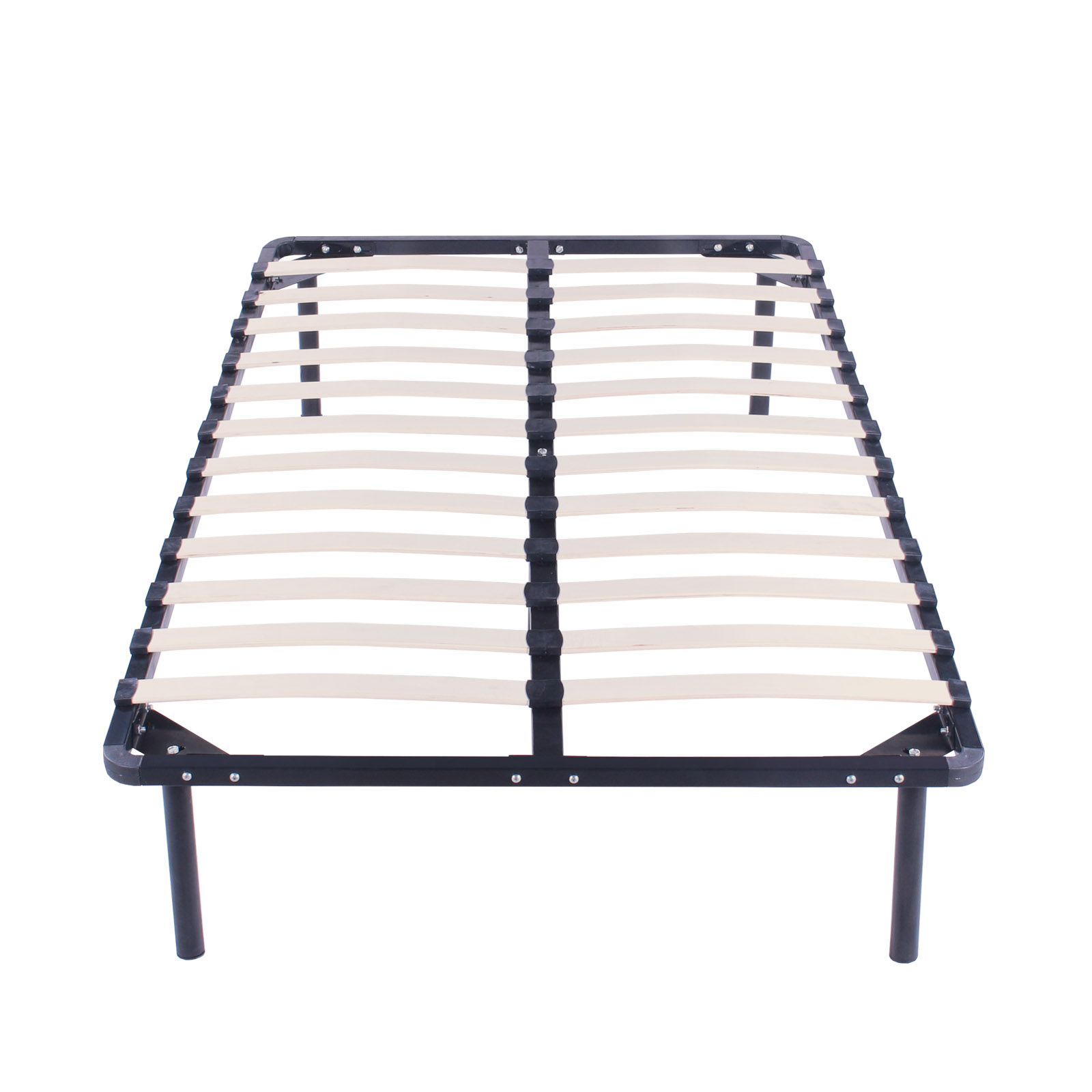 Twin size wood slats metal bed frame platform bedroom for Twin mattress and frame