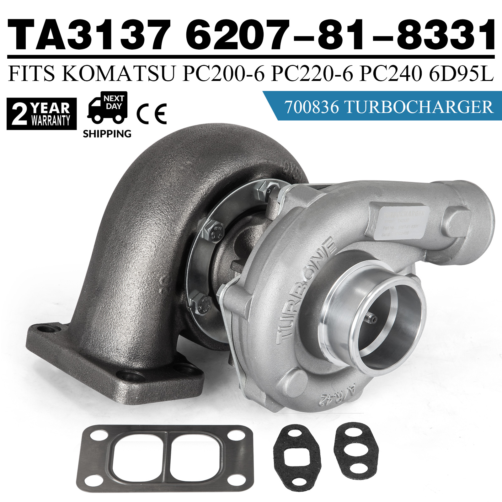 TT TURBO 6207-81-8331 For Komatsu PC200-6 Earth Moving with S6D95L Engine  Hot