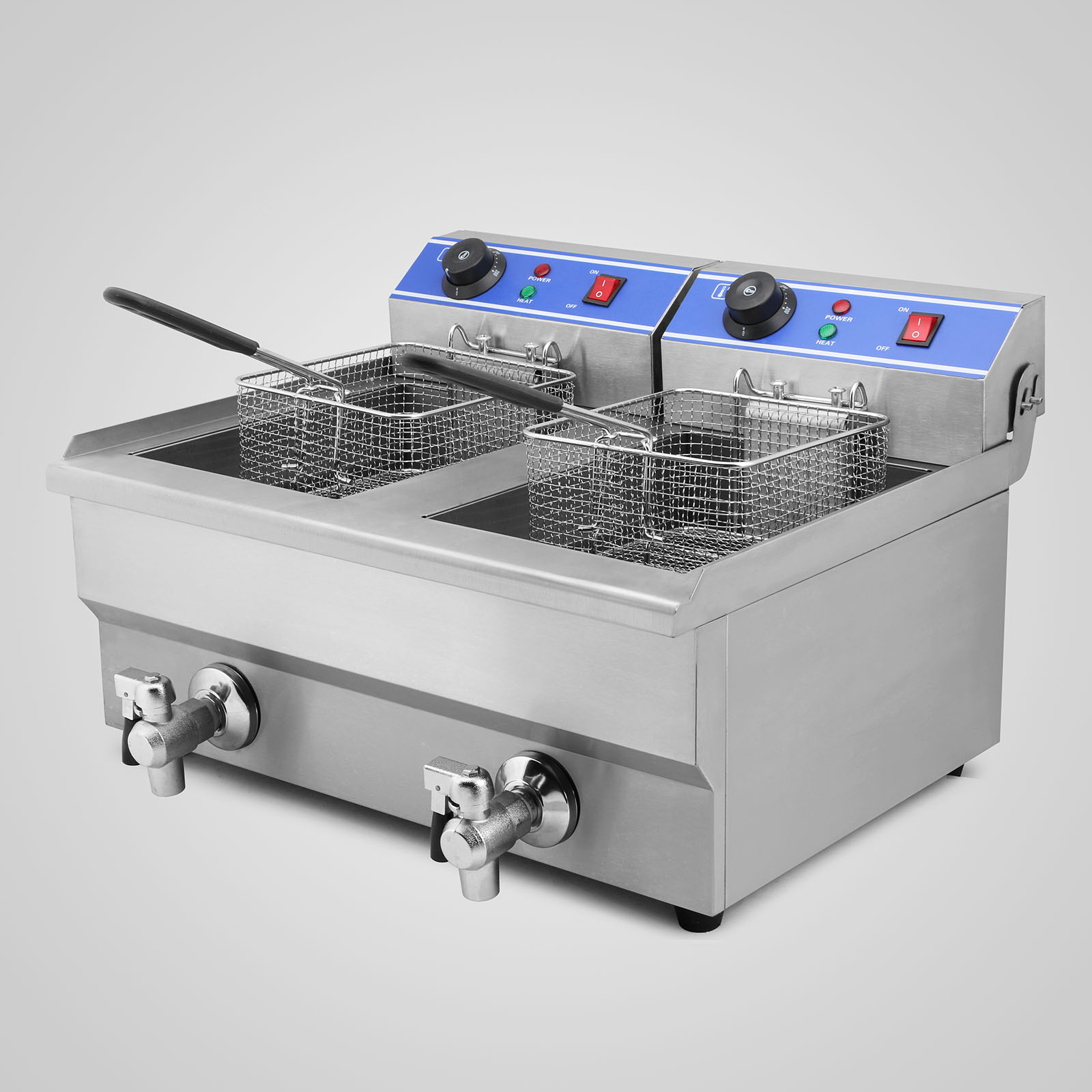 Electric Deep Fryer : L electric deep fryer double tank countertop auto