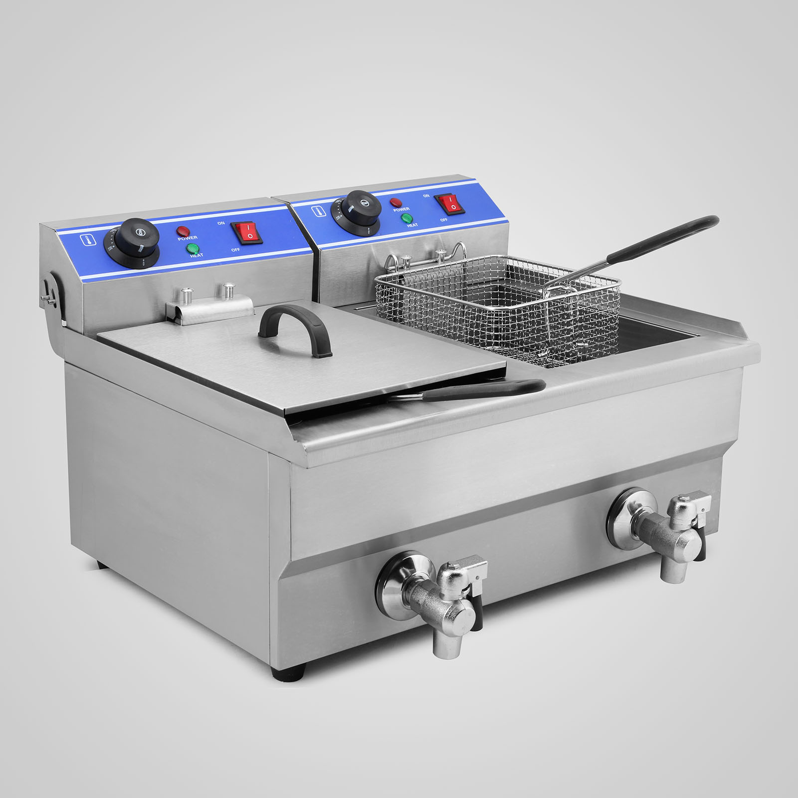 Details about 20L ELECTRIC DEEP FRYER DOUBLE TANK COUNTERTOP AUTO ...