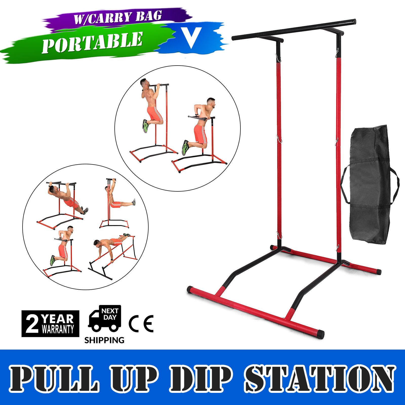 Portable Pull Up Dip Station Gym  Bar Power Tower Multi Function Equipment 220lbs  just for you