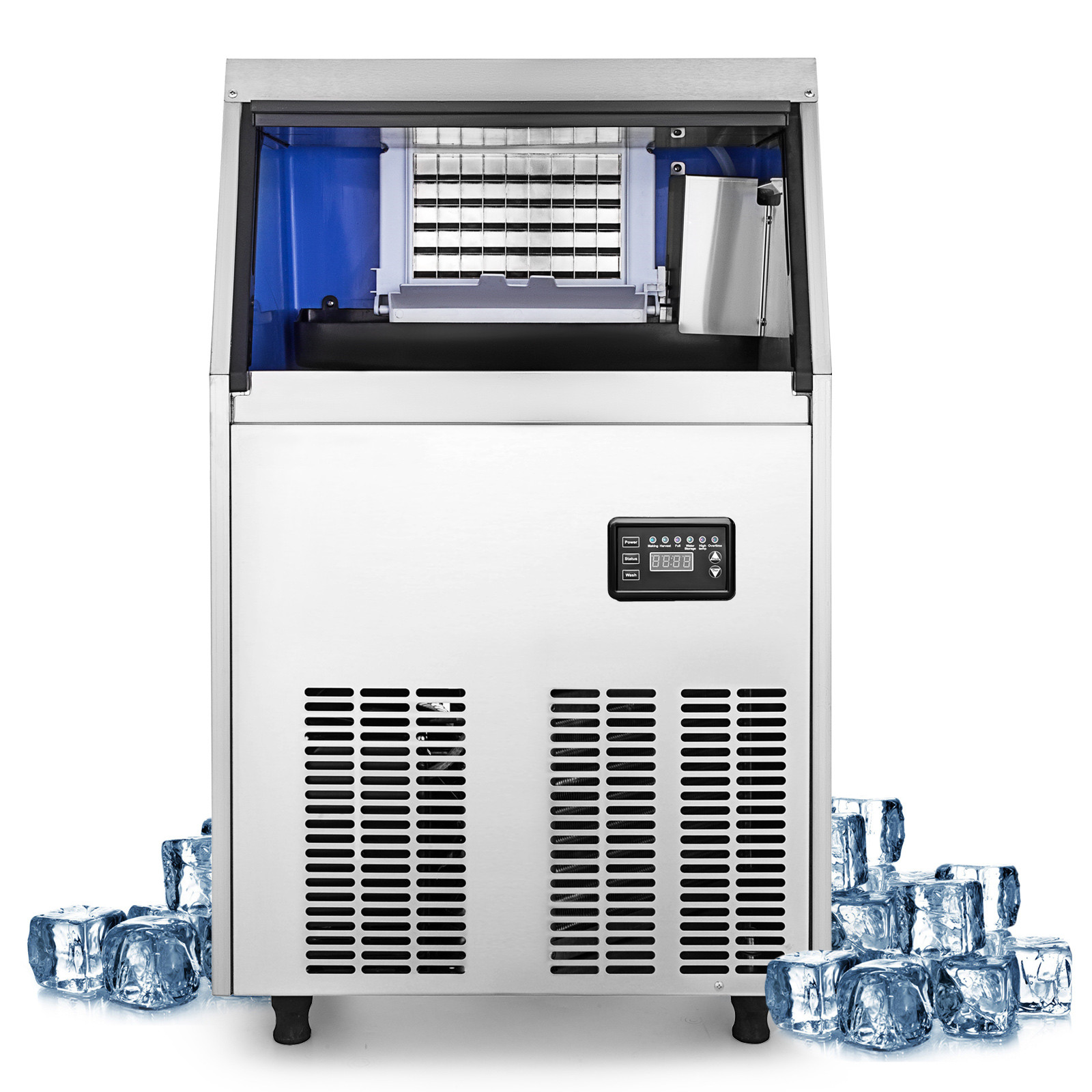 40~200 KG Commercial Ice Cube Maker Machine 32~144 Cases Snack Bars Ice Spoon