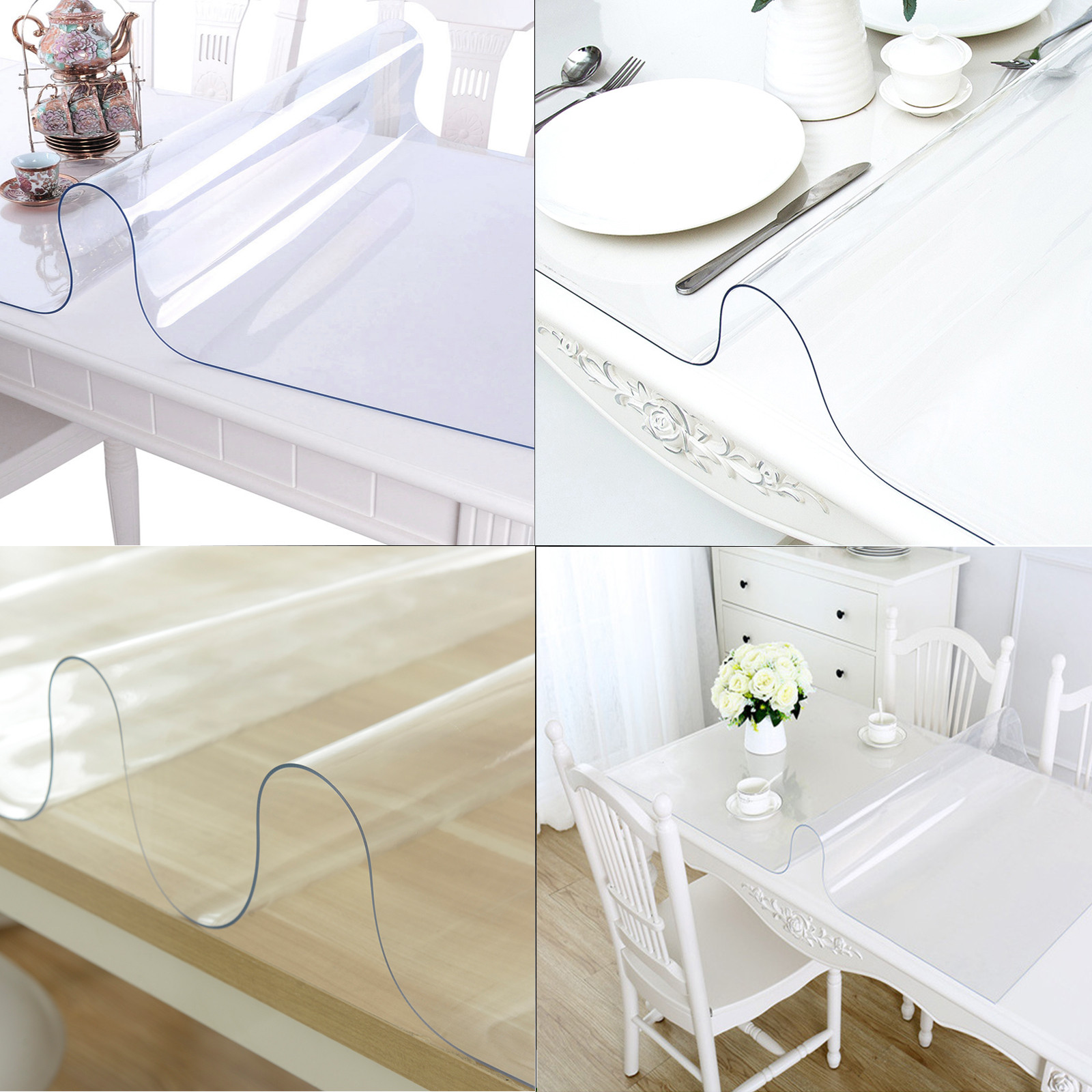 PVC Tablecloth Protector Table Cover 1.5//2mm for Glass Table Desktop Desk Pad