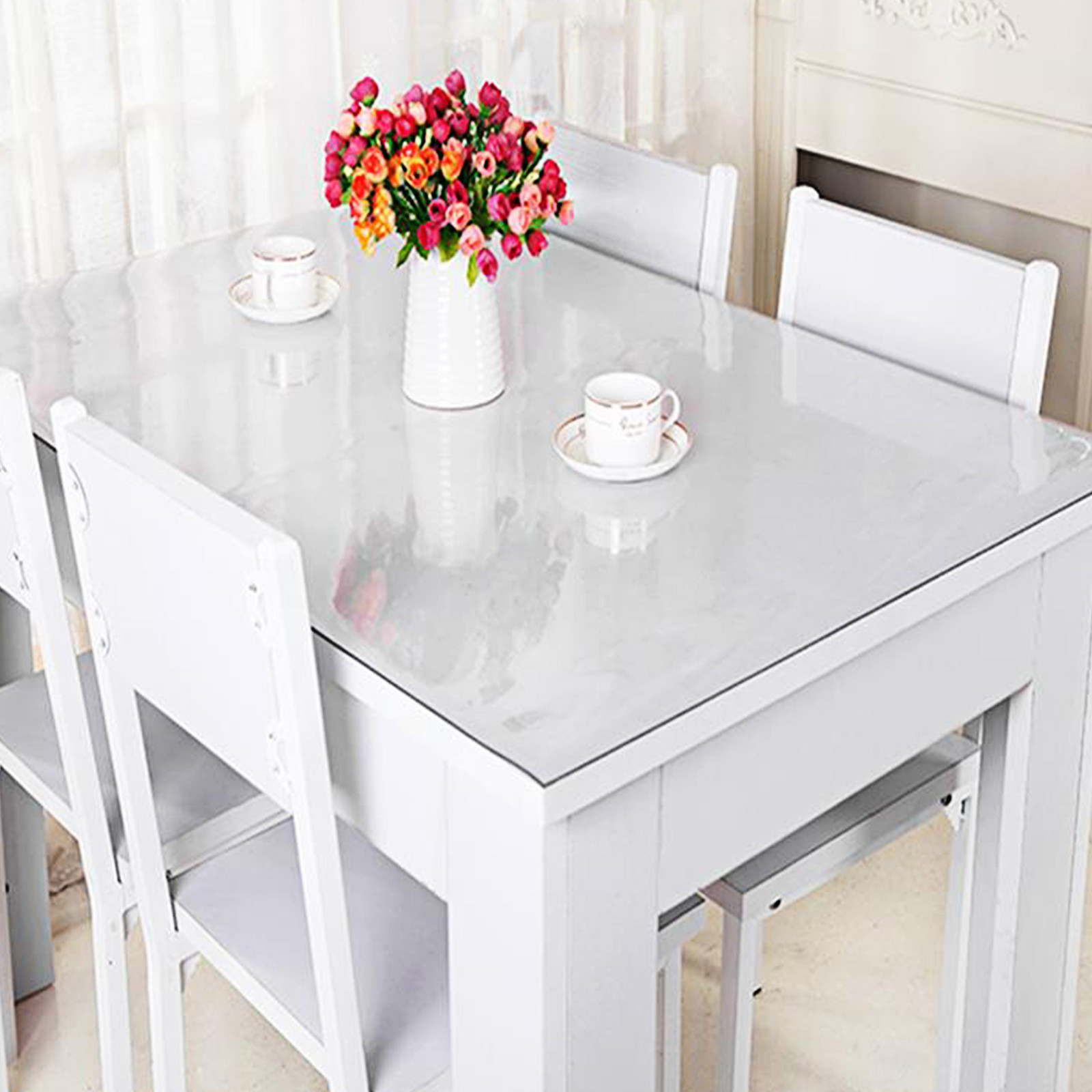 Waterproof Clear Plastic PVC Tablecloth Transparent Protector Dining Table Cover
