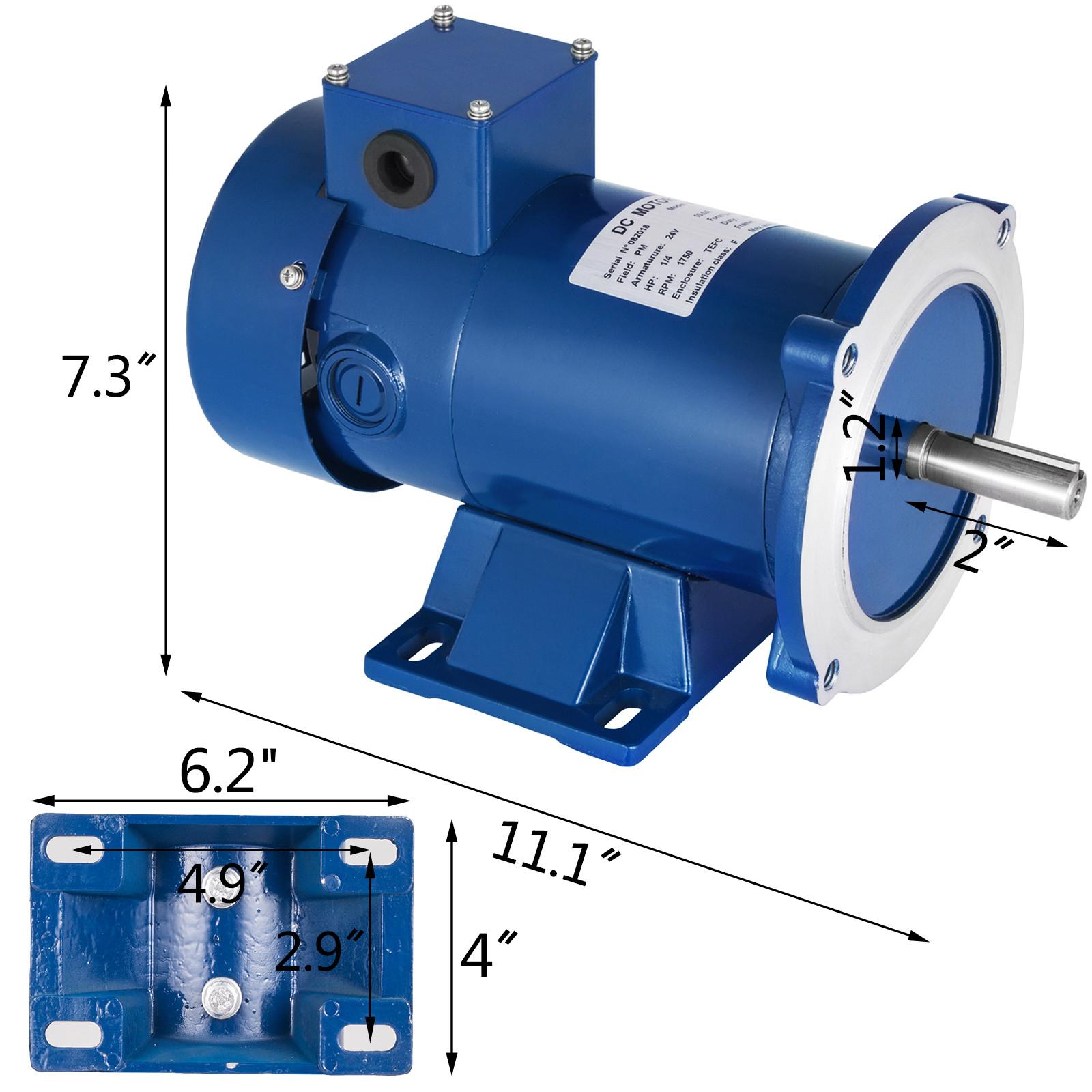 1//3~3HP DC MOTOR 1750RPM TEFC 56C Permanent Magnet 12//24//90//180V