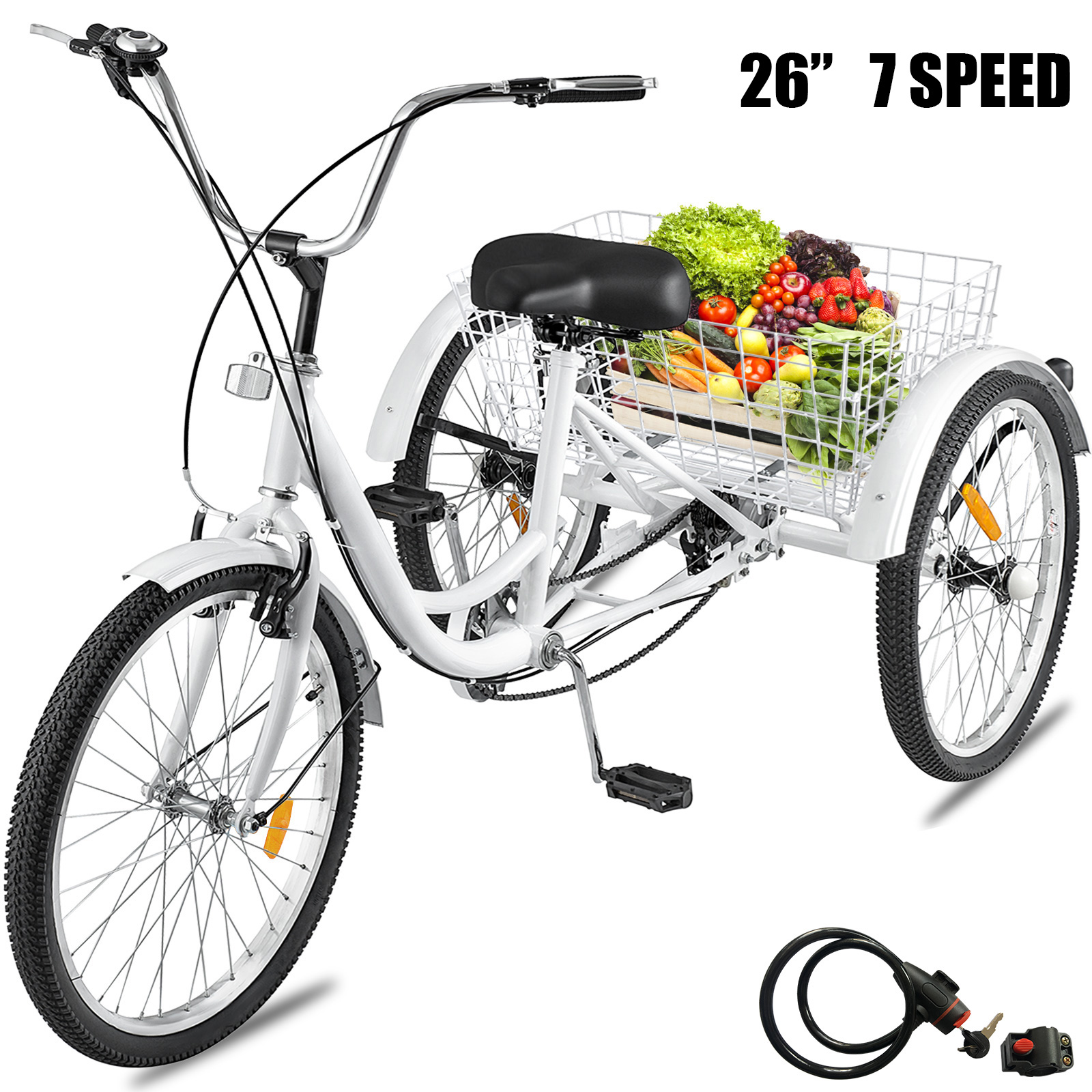 "Adult Tricycle 26"" Wheel 7 Speed 3 Wheels White Bicycle Trik"