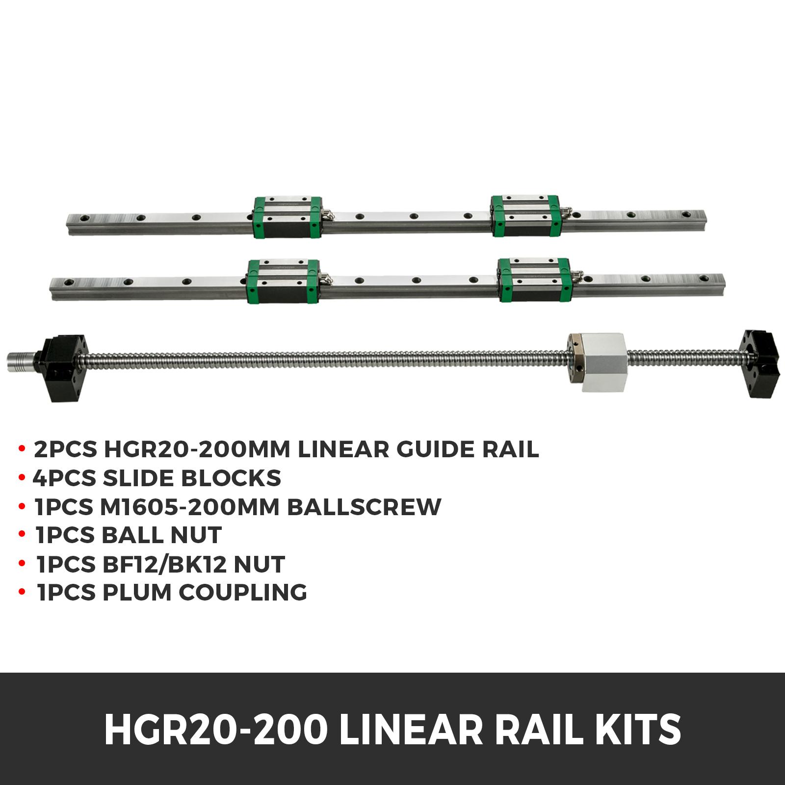 Guida-Lineare-CNC-HGR20-200mm-2-Pezzi-Blocco-di-Cuscinetti-4-Pezzi miniatura 2