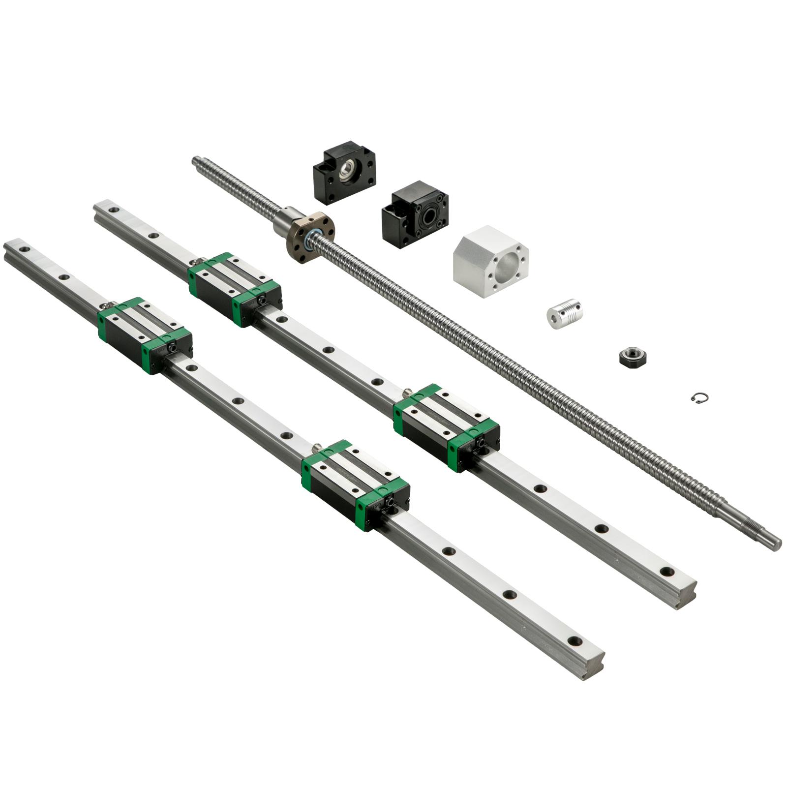 2X Linear Rail HGR20-200-2000mm 4X Blocks Ballscrew RM1605 BF12//BK12 CNC Set