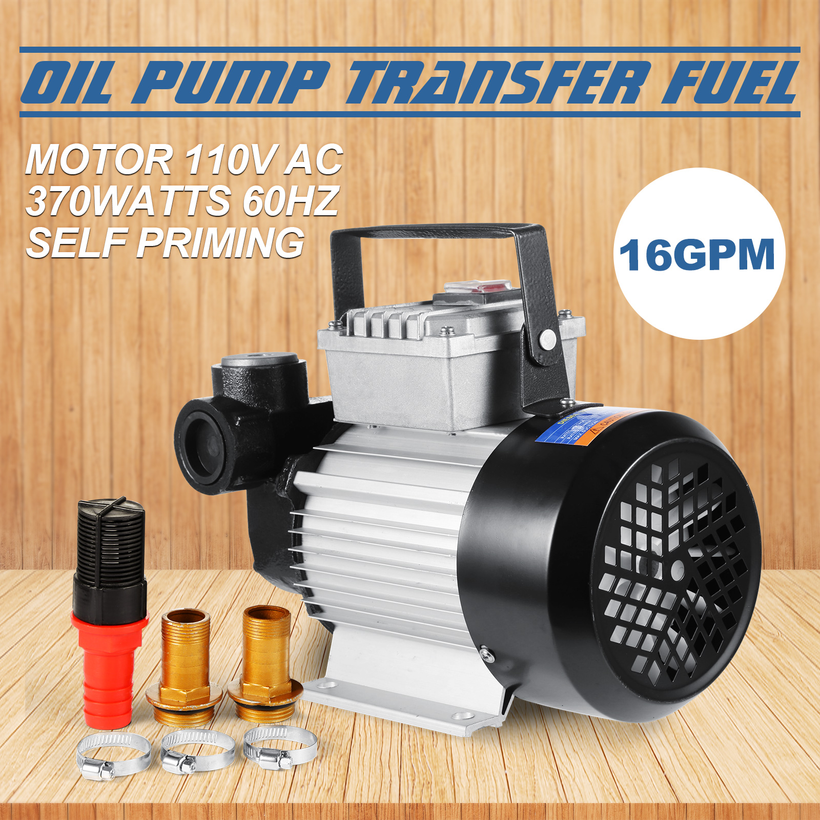 Self Priming Electric Oil Pump Transfer Fuel Diesel 110V AC 16GPM 370W