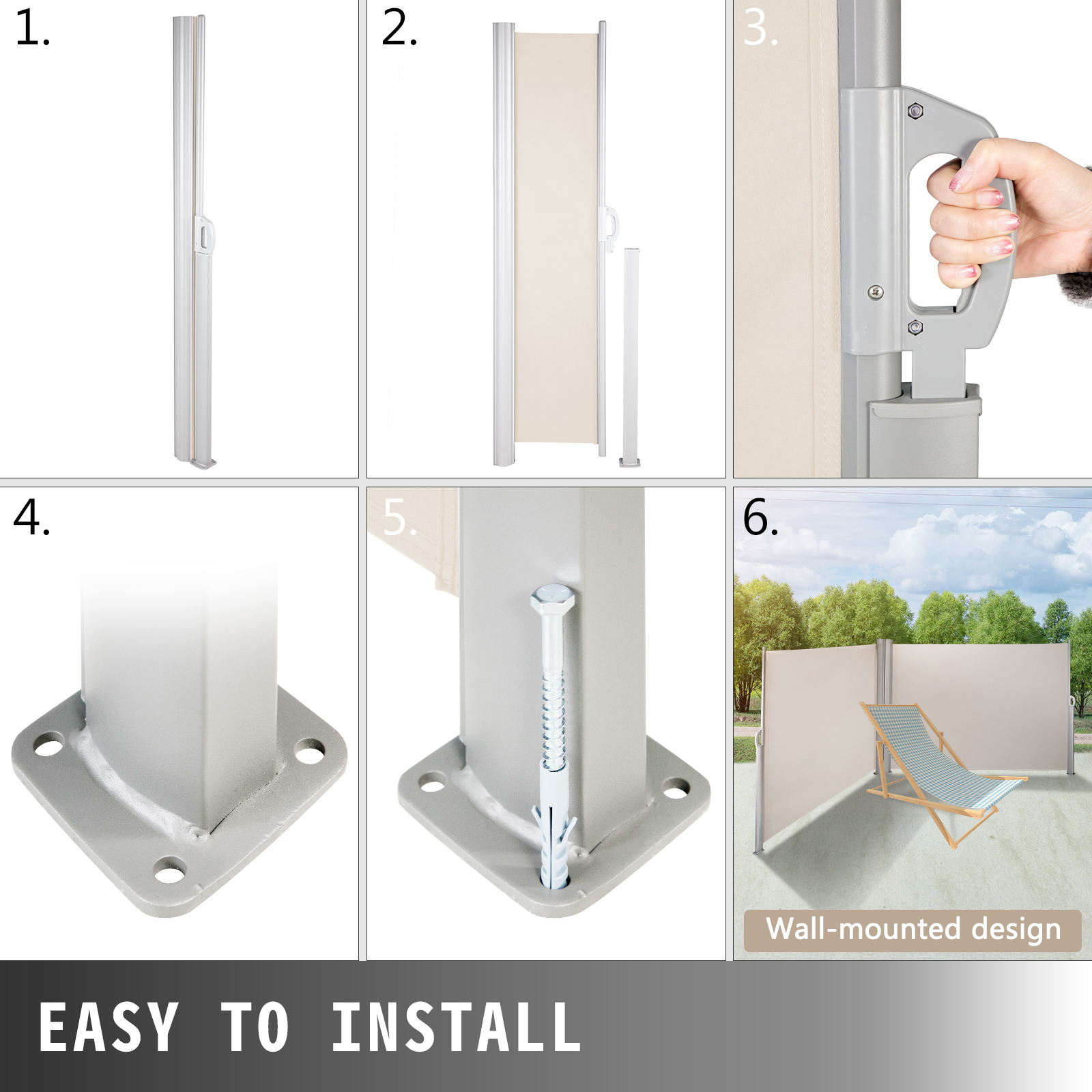 Retractable Side Awning Patio Screen Retractable Fence ...