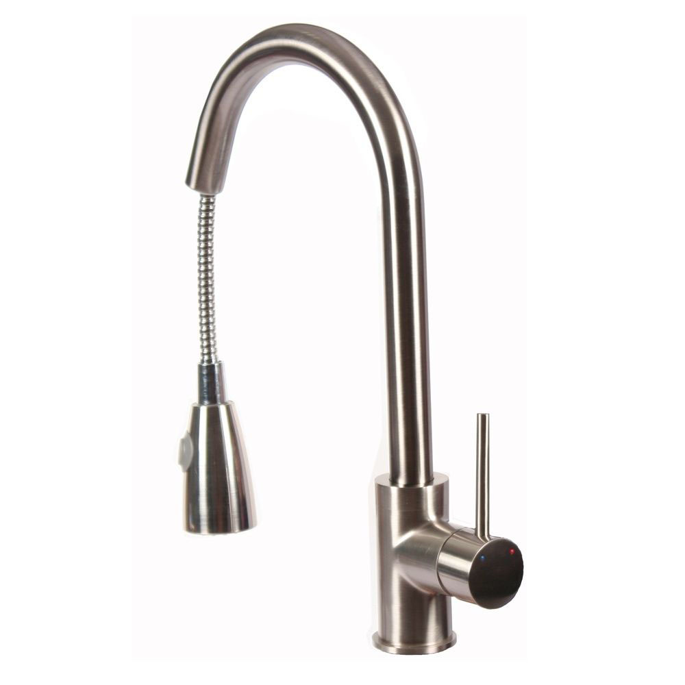Kitchen Faucet Swivel Faucet Top Button Stainless Steel