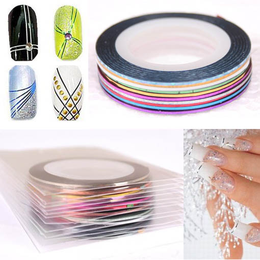 10 & 12 X STRIPING TAPE COLOR TIP LINE NAIL ART STICKER ROLLS