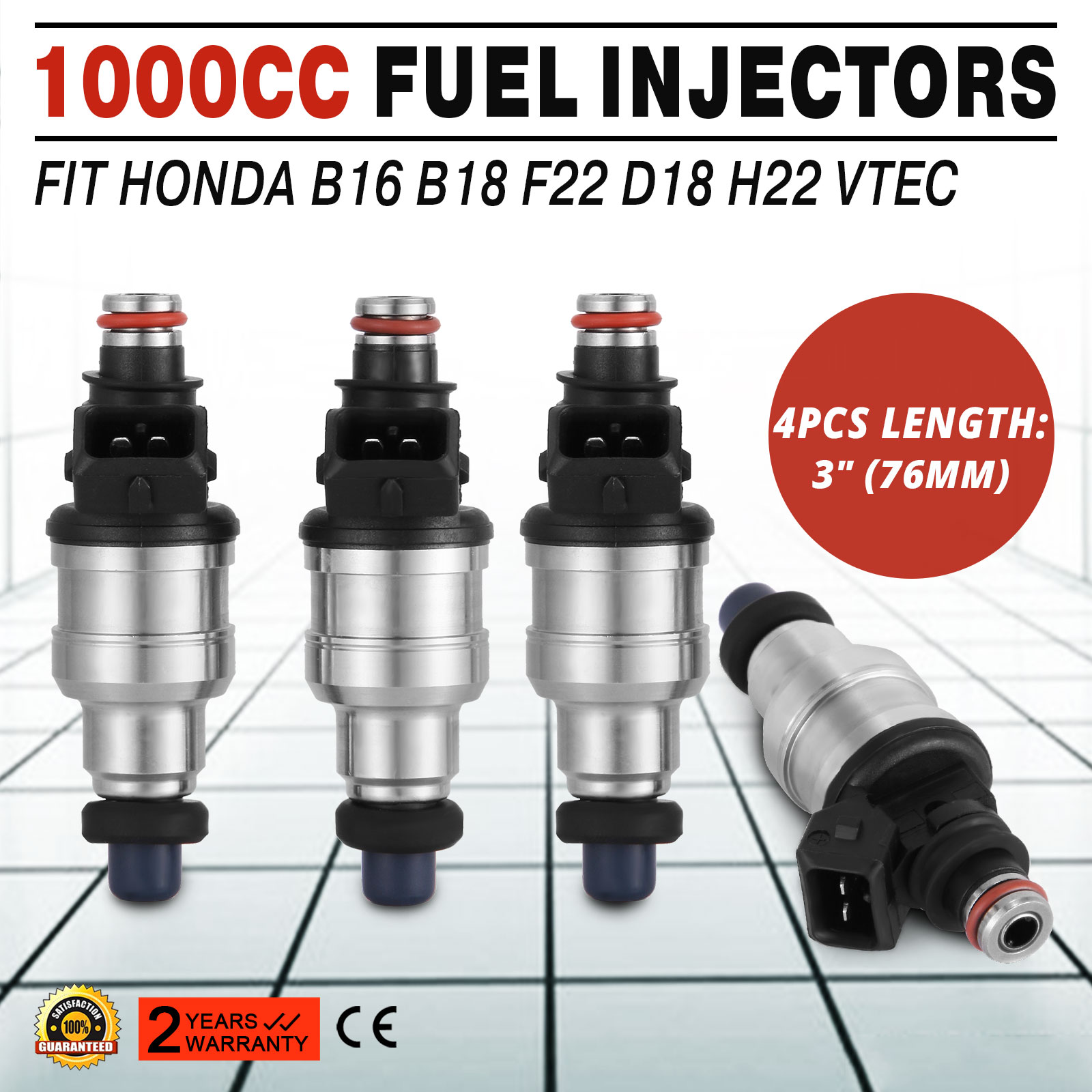 Fuel Injectors 1000cc For Honda B16 B18 B20 D16 D18 F22 H22 H22A VTEC Free Clips