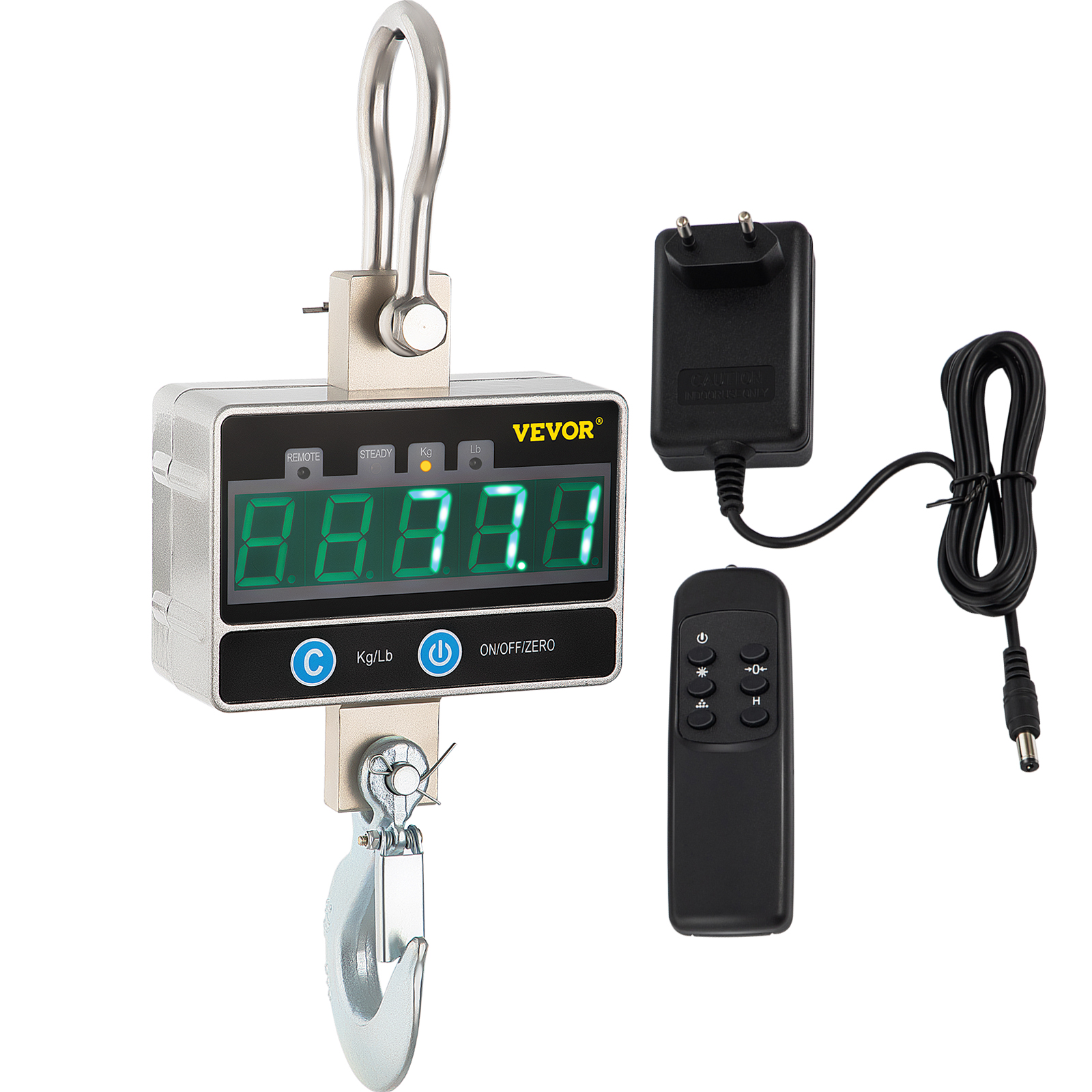Bonvoisin Digital Crane Scale 1000kg//2000lb Industrial Heavy Duty Hanging Scale with Remote Control Portable Electronic Weighing Crane Scale 5-Digit LED Display CE Certified 1000kg, Orange
