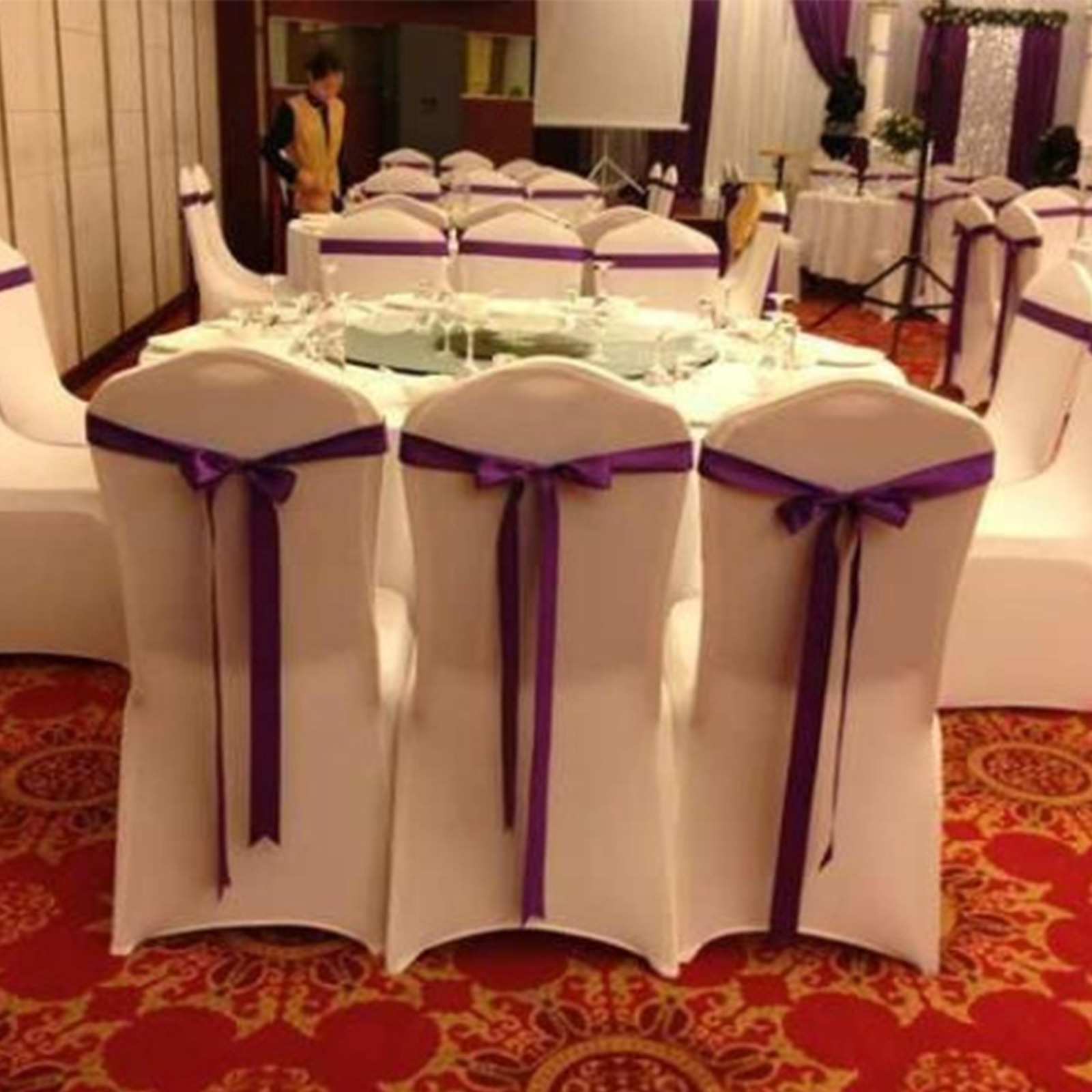 100pcs stretch spandex white folding chair covers seat stret