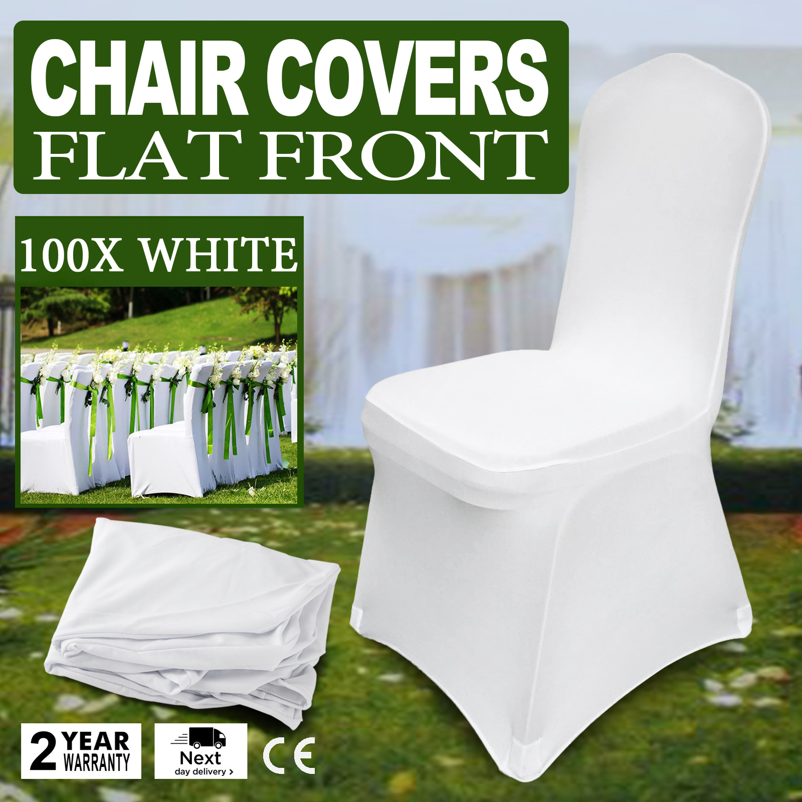 Pleasant Details About 100Pcs Stretch Spandex White Folding Chair Covers Seat Chairs Universal Pabps2019 Chair Design Images Pabps2019Com