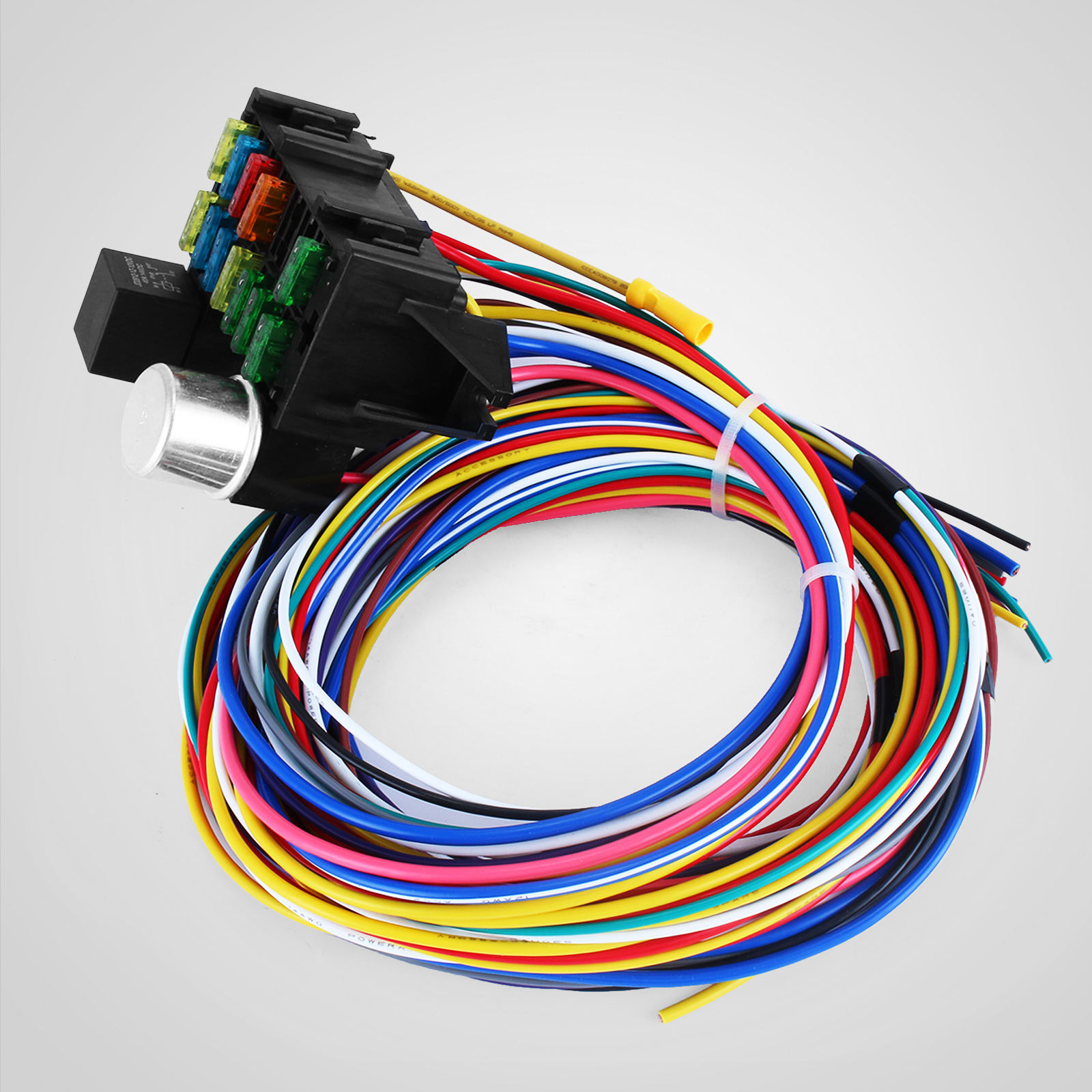 universal wiring harness kit 12 circuit universal wire harness muscle car hot rod ...
