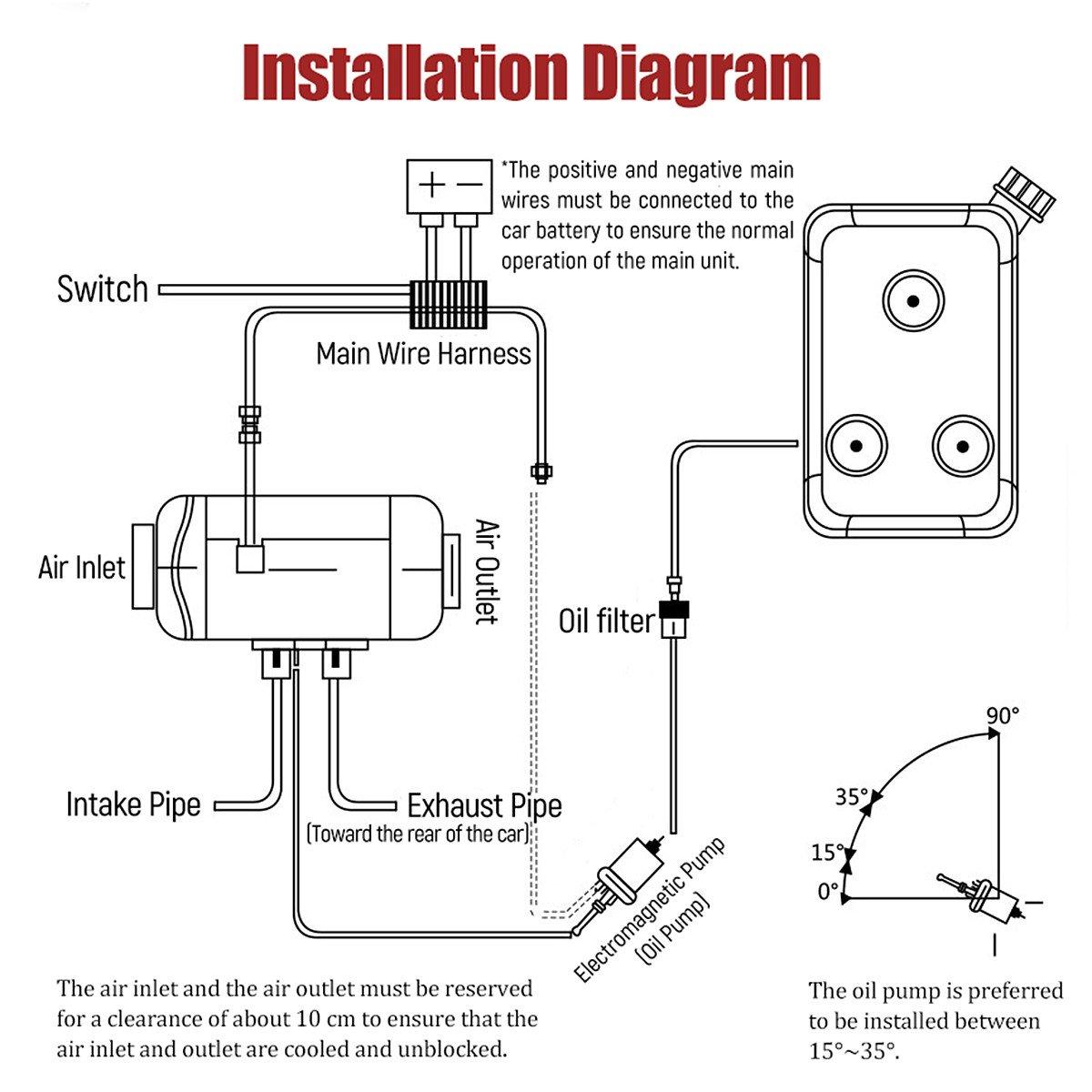 12v 2 2kw Diesel Air Heater Tank Vent Duct Digital