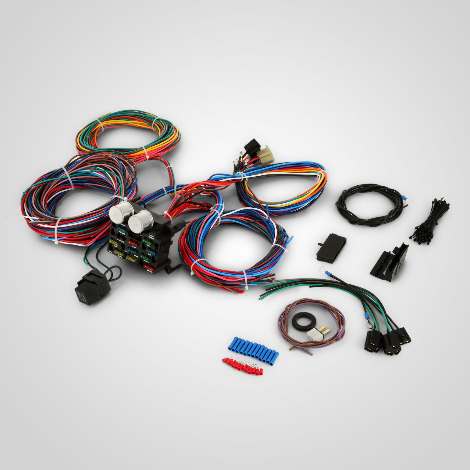d513 6 real 12 circuit street rod wiring harness standard panel car truck street rod wiring harness at creativeand.co