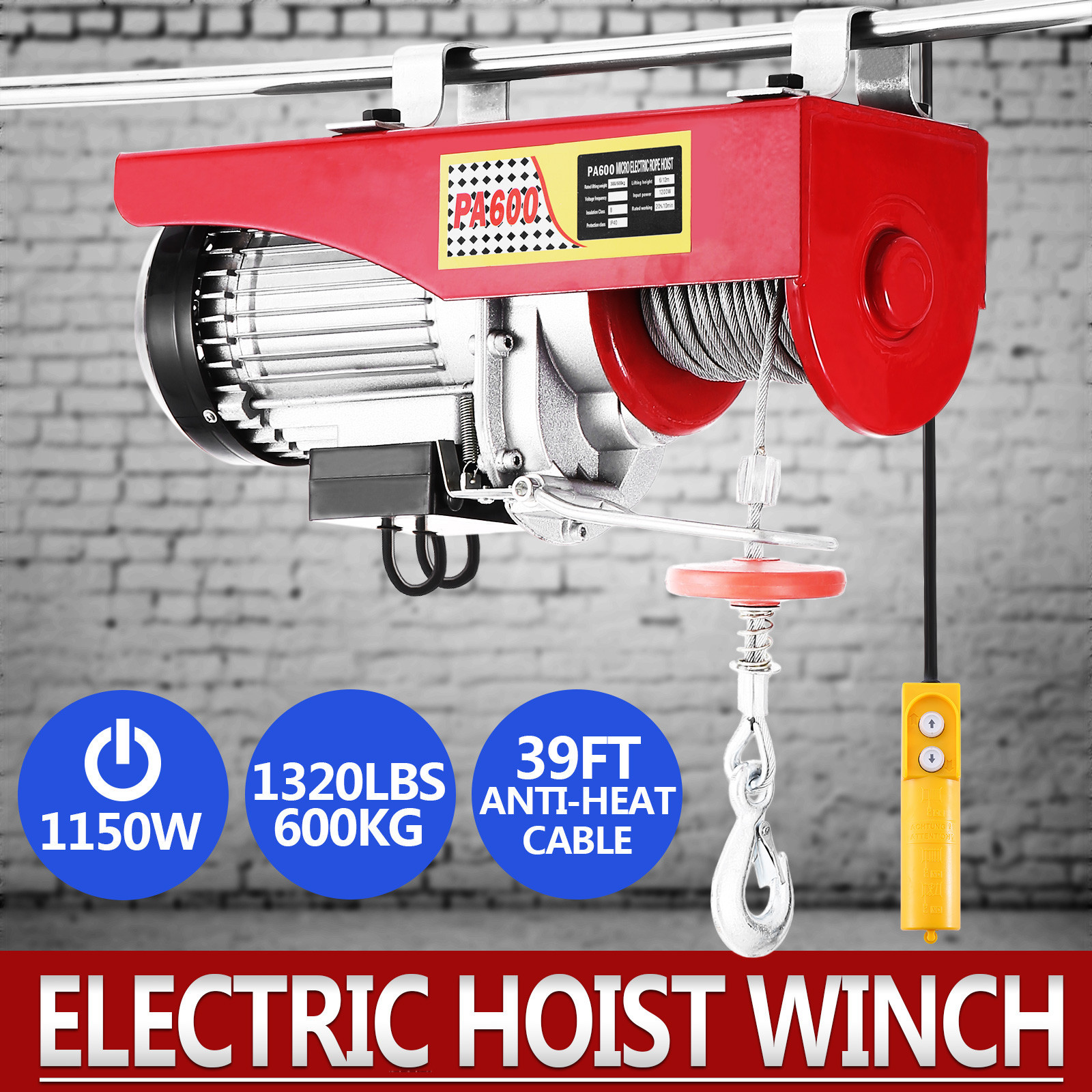 100kg-900kg-Electric-Hoist-Winch-Lifting-Engine-Crane-Cable-Lift-Hook-Garage miniature 37