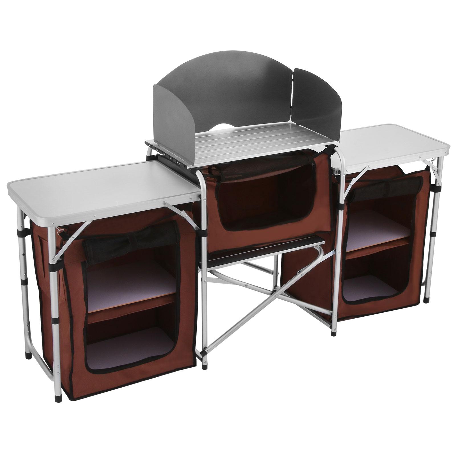 Portable Camping Storage Cabinet Folding Canvas Cupboard Aluminium Shelf Outdoor
