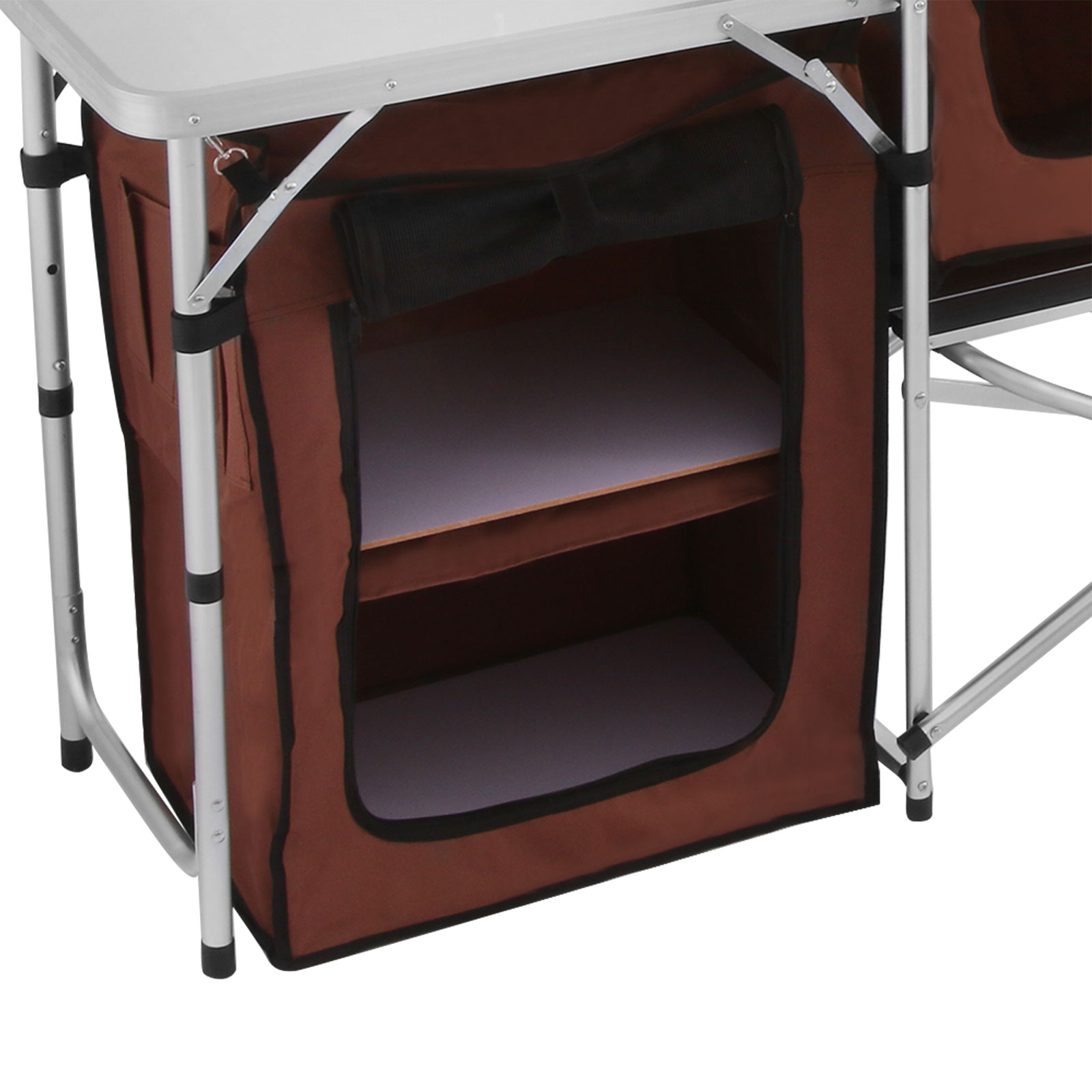 Kitchen Table With Food: CAMPING KITCHEN COOKING TABLE FOOD PREP FOOD STORAGE ADJUSTABLE FOLDING 895801183706