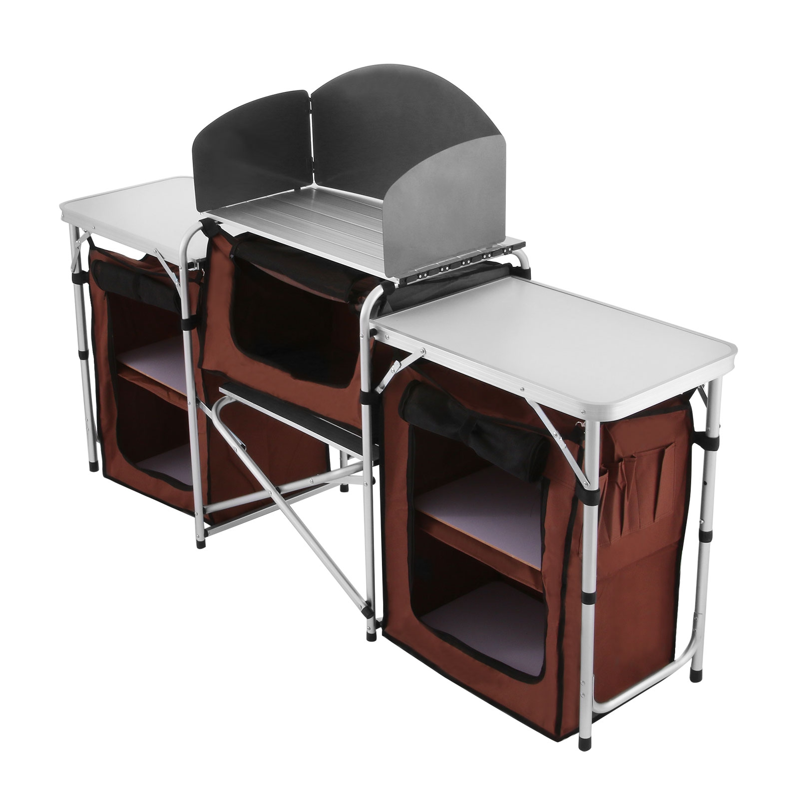 Camping kitchen cooking table food prep food storage adjustable folding 245496290737 ebay - Table retractable cuisine ...