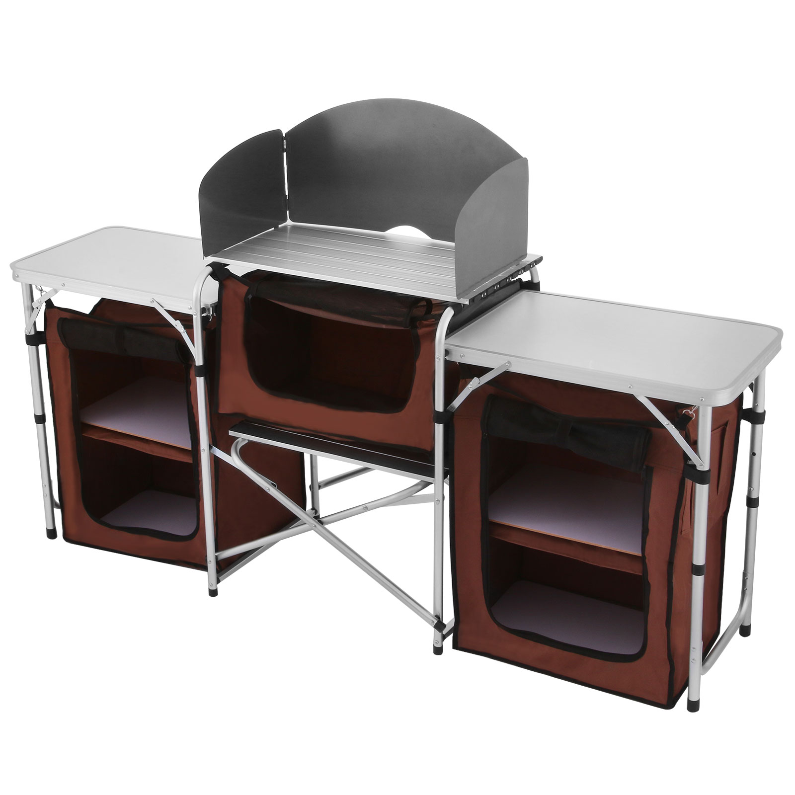 Camping kitchen table food prep storage cooking tables adjustable folding ebay - Table retractable cuisine ...